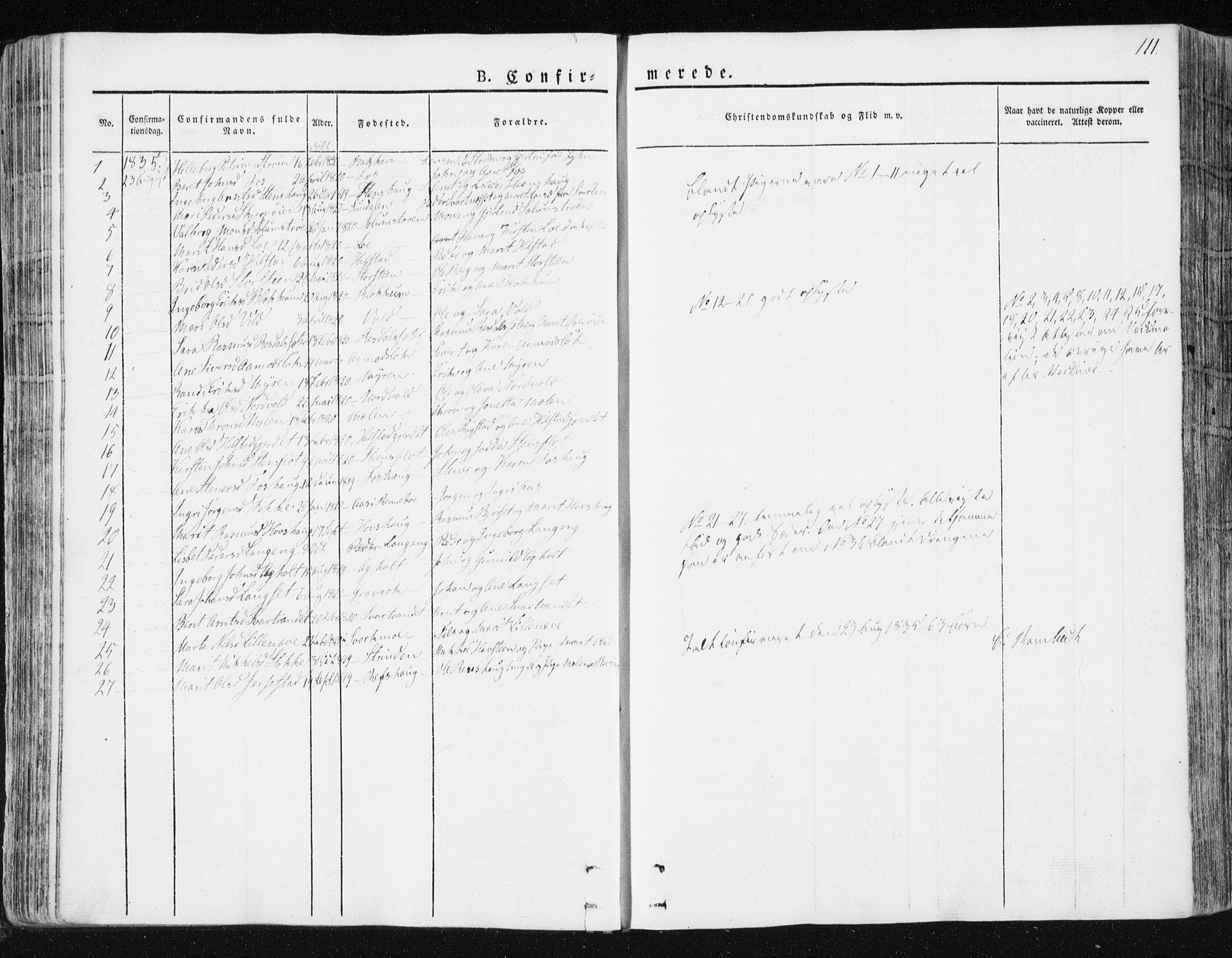 SAT, Ministerialprotokoller, klokkerbøker og fødselsregistre - Sør-Trøndelag, 672/L0855: Ministerialbok nr. 672A07, 1829-1860, s. 111