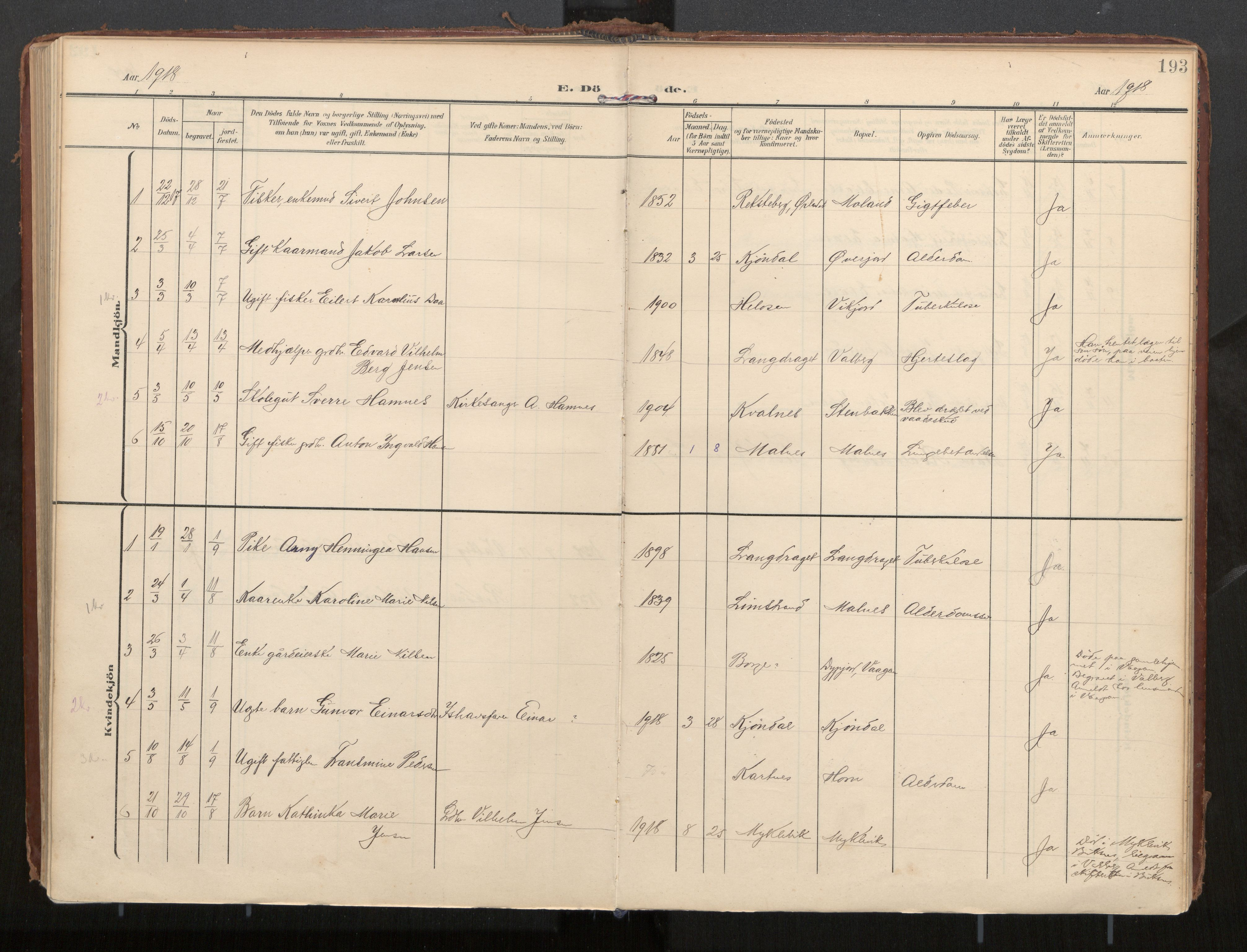 SAT, Ministerialprotokoller, klokkerbøker og fødselsregistre - Nordland, 884/L1194: Ministerialbok nr. 884A02, 1906-1937, s. 193