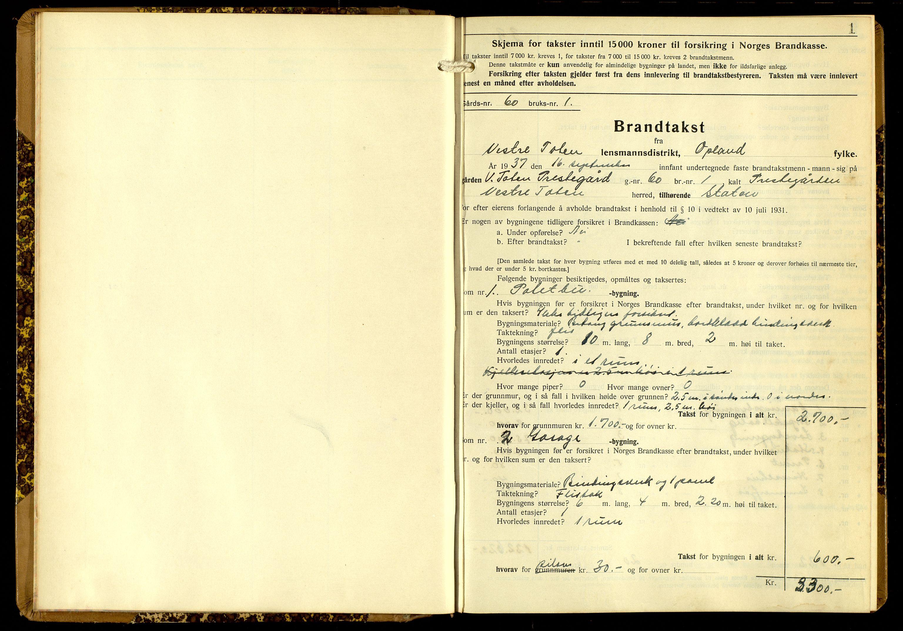SAH, Norges Brannkasse, Vestre Toten, 1937-1949, s. 1