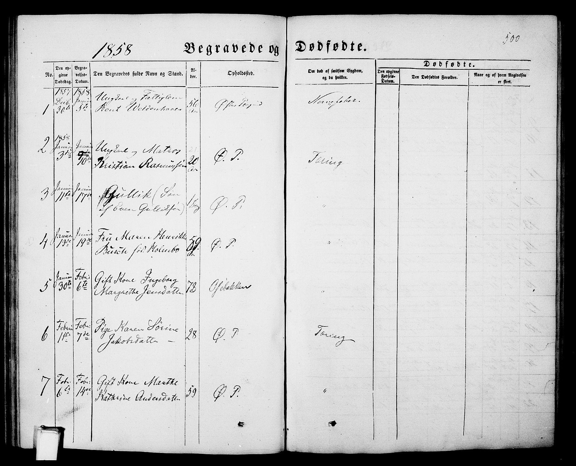 SAKO, Porsgrunn kirkebøker , G/Gb/L0004: Klokkerbok nr. II 4, 1853-1882, s. 500
