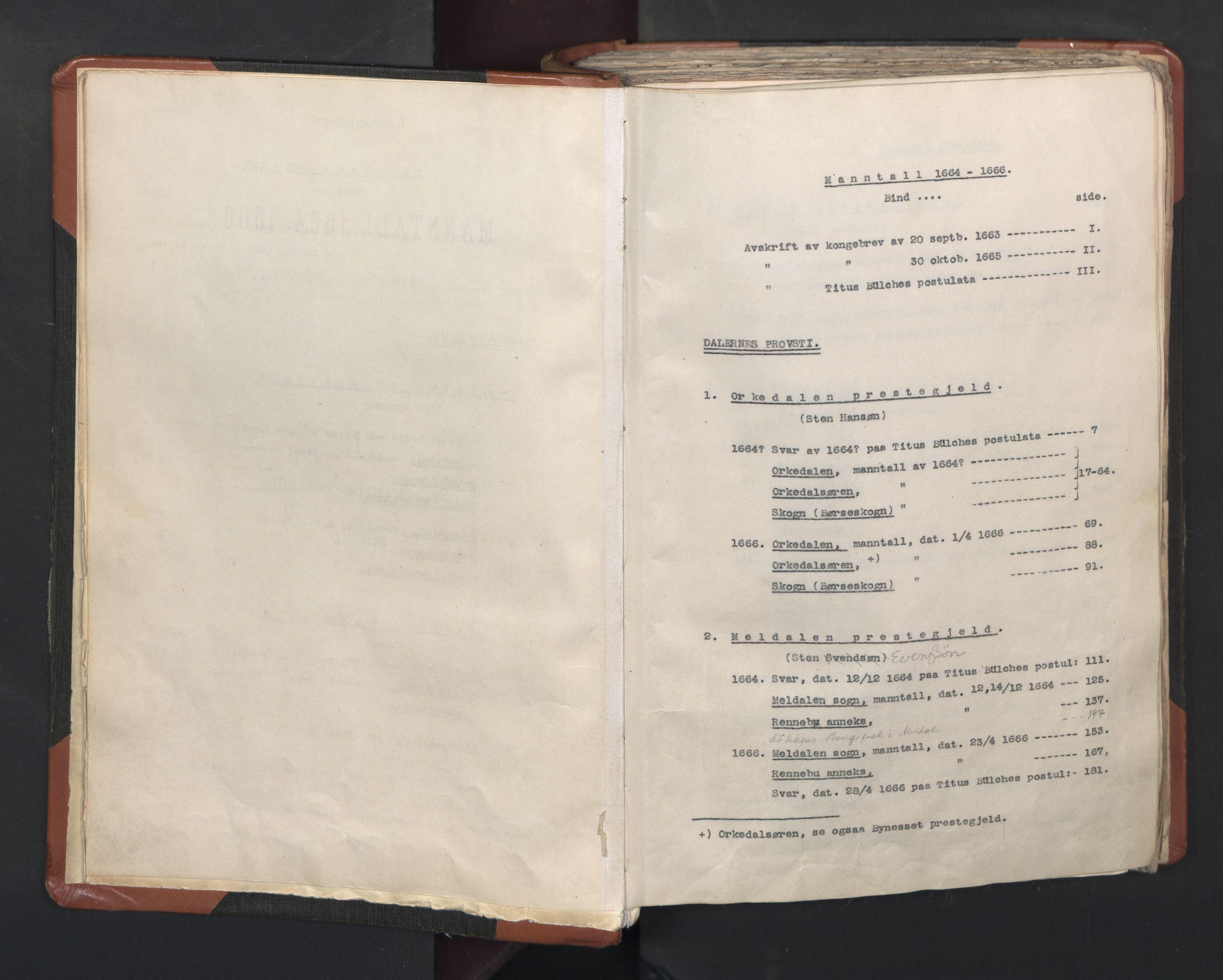 RA, Sogneprestenes manntall 1664-1666, nr. 31: Dalane prosti, 1664-1666, s. upaginert