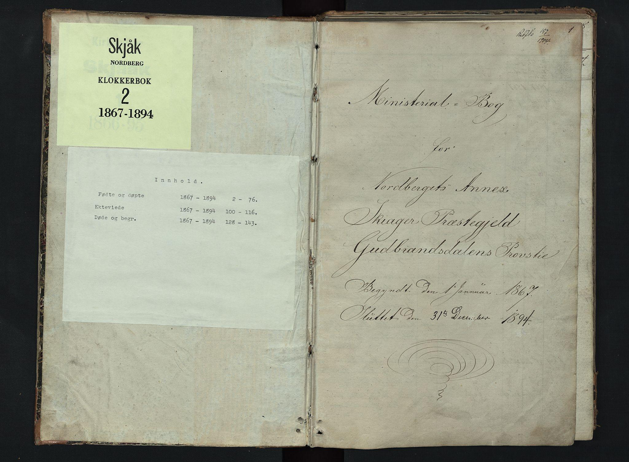 SAH, Skjåk prestekontor, Klokkerbok nr. 2, 1867-1894, s. 1