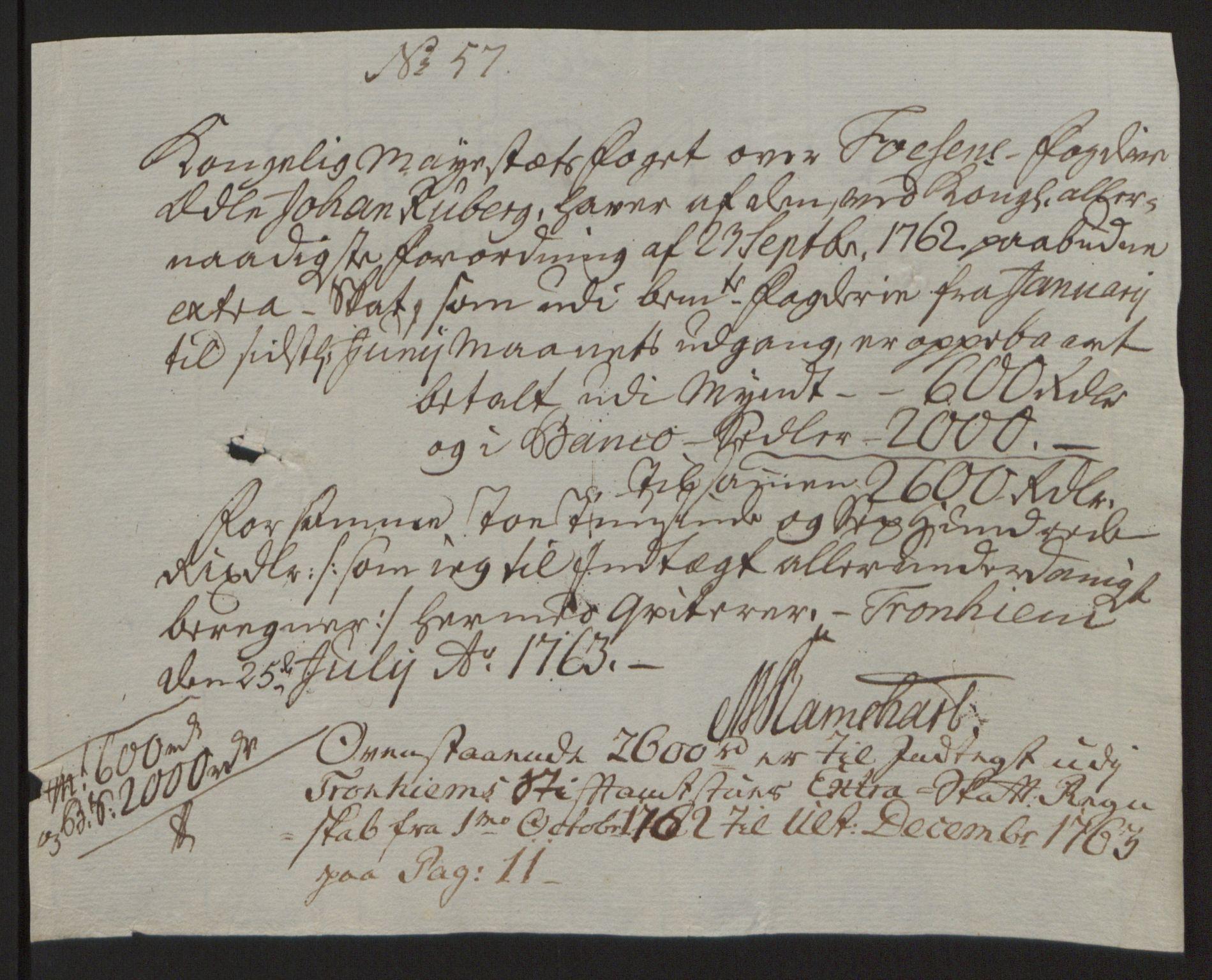 RA, Rentekammeret inntil 1814, Reviderte regnskaper, Fogderegnskap, R57/L3930: Ekstraskatten Fosen, 1762-1763, s. 435