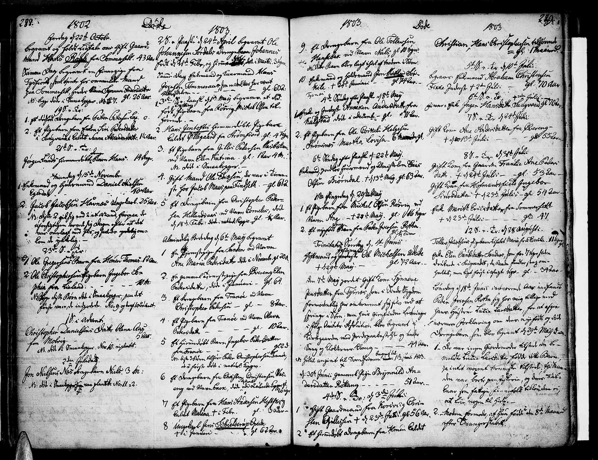 SAT, Ministerialprotokoller, klokkerbøker og fødselsregistre - Nordland, 859/L0841: Ministerialbok nr. 859A01, 1766-1821, s. 288-289