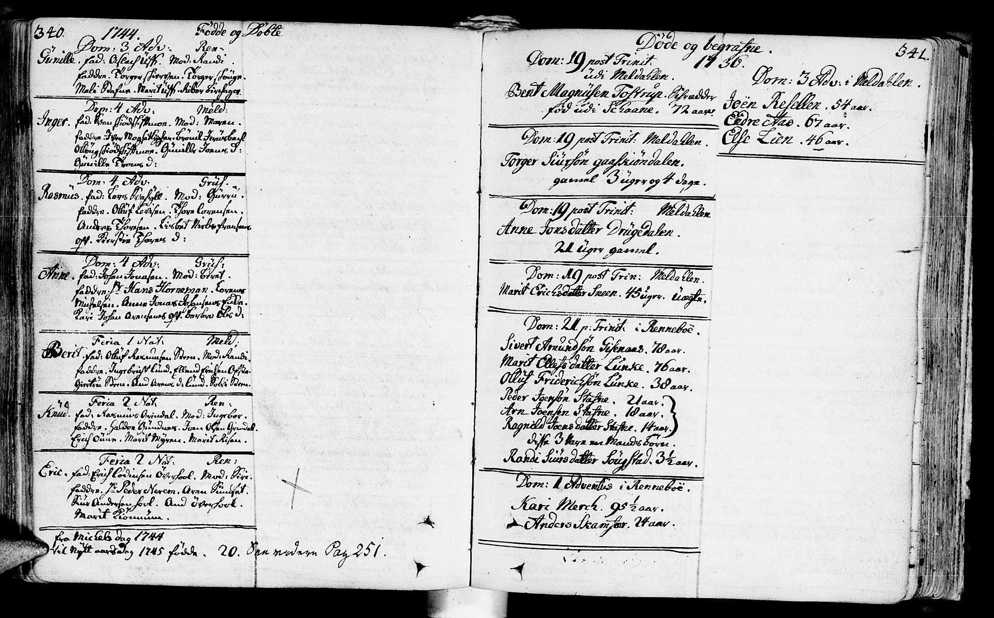 SAT, Ministerialprotokoller, klokkerbøker og fødselsregistre - Sør-Trøndelag, 672/L0850: Ministerialbok nr. 672A03, 1725-1751, s. 340-341