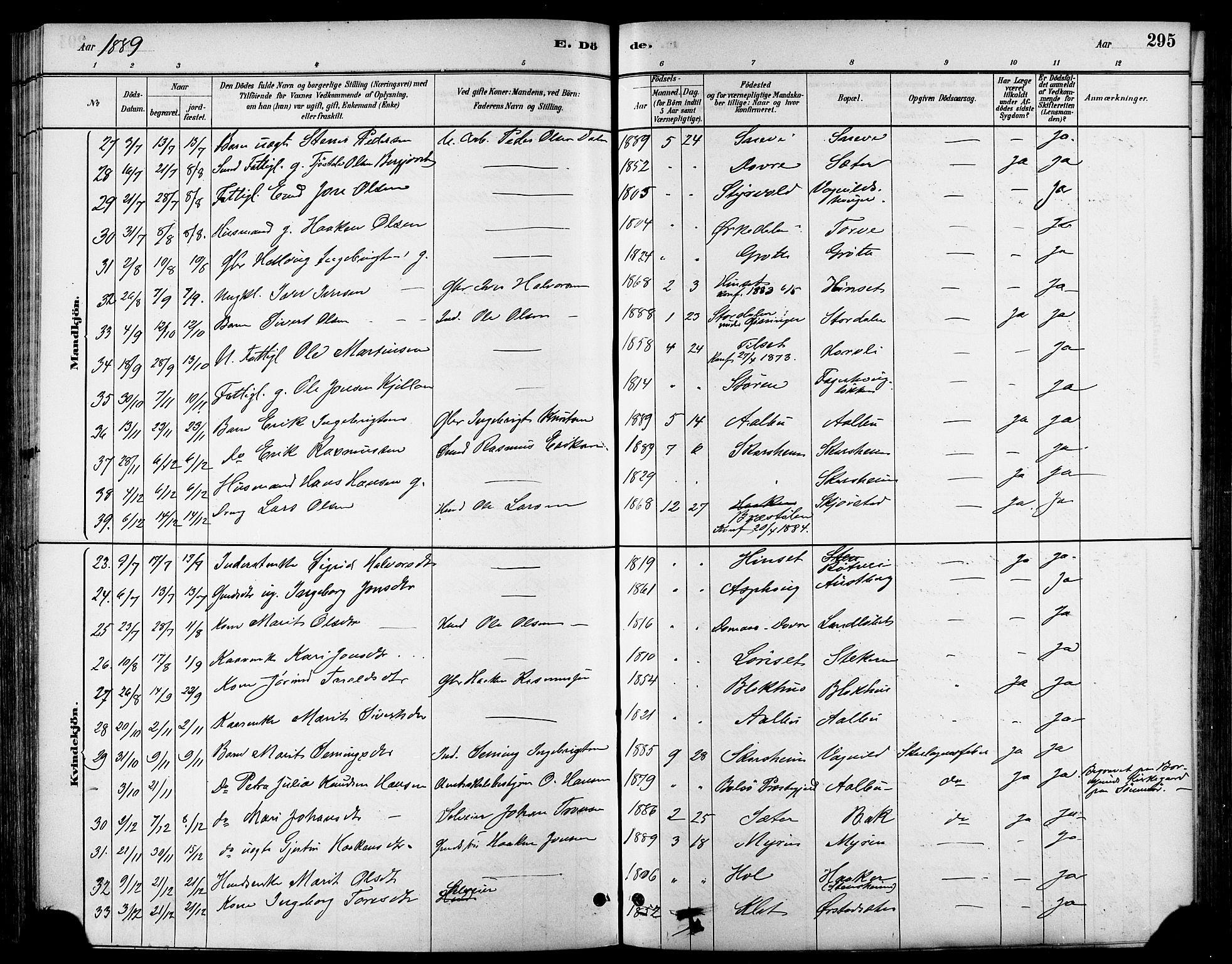 SAT, Ministerialprotokoller, klokkerbøker og fødselsregistre - Sør-Trøndelag, 678/L0901: Ministerialbok nr. 678A10, 1881-1894, s. 295