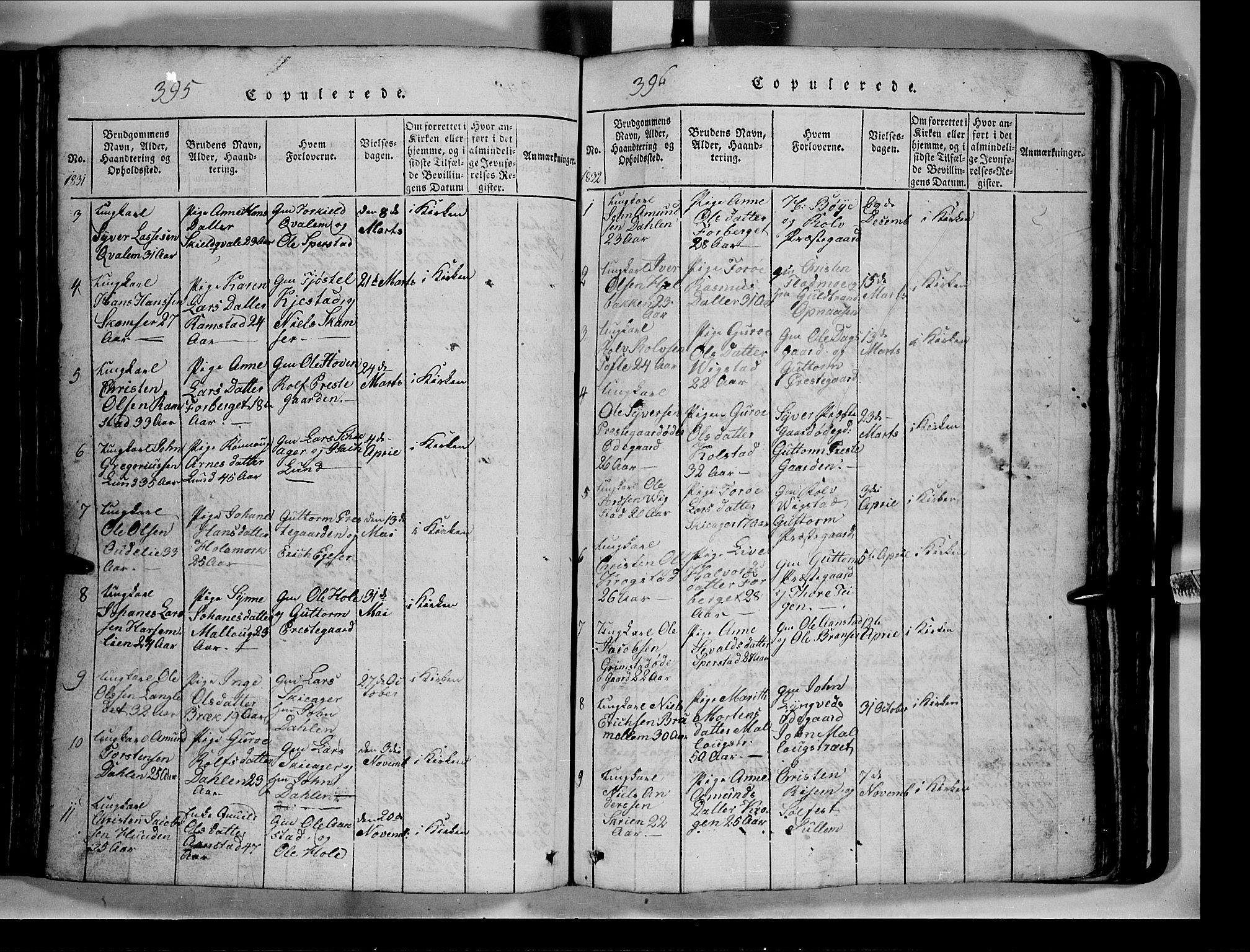 SAH, Lom prestekontor, L/L0003: Klokkerbok nr. 3, 1815-1844, s. 395-396