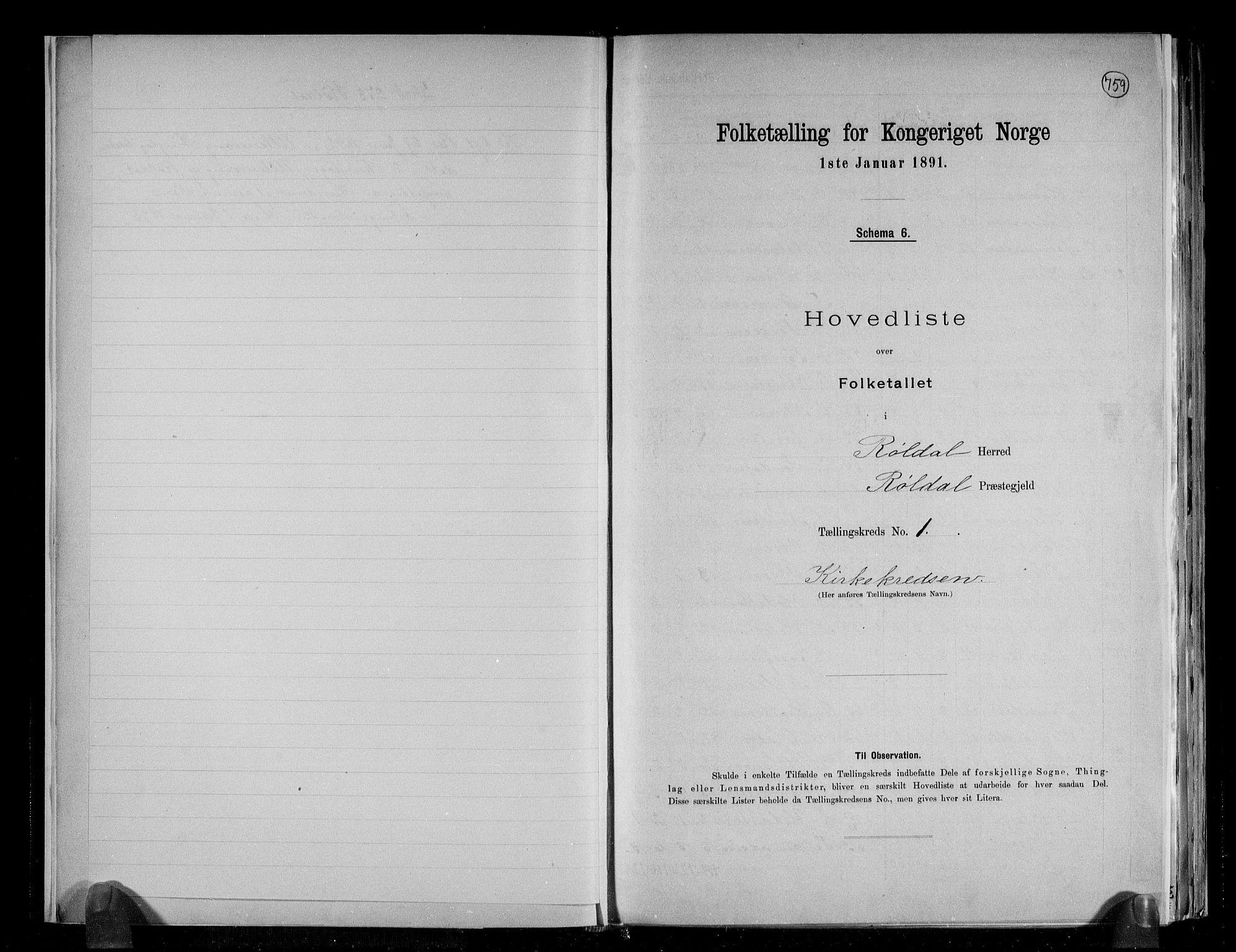 RA, Folketelling 1891 for 1229 Røldal herred, 1891, s. 5
