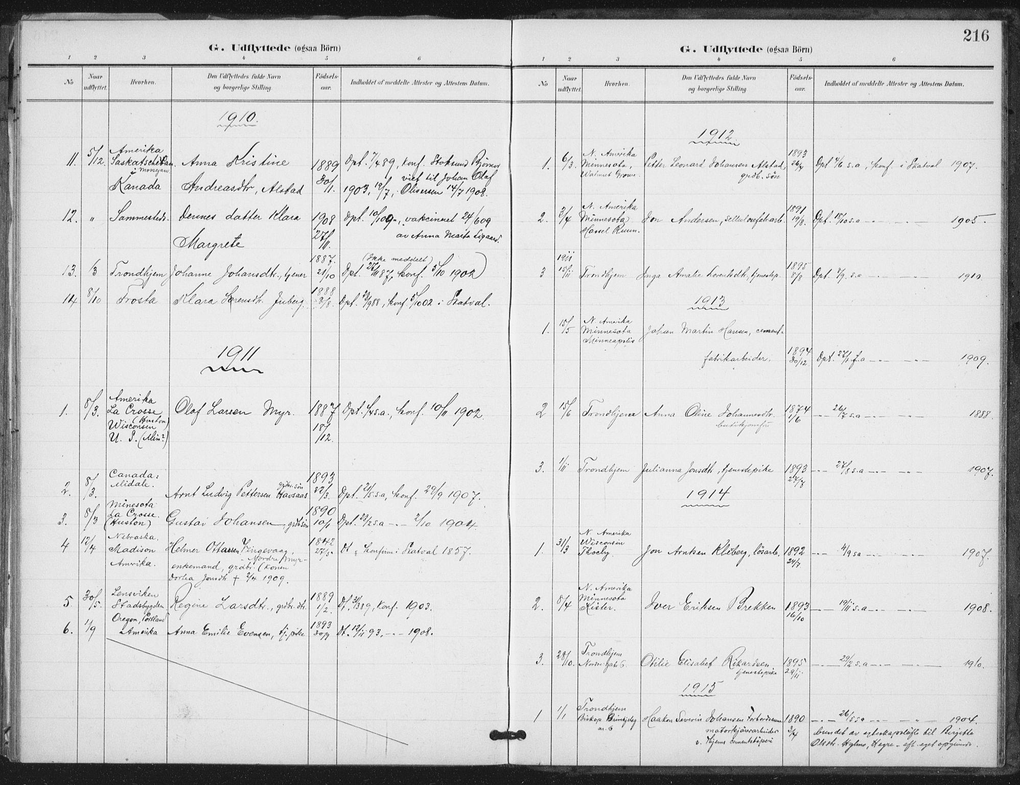 SAT, Ministerialprotokoller, klokkerbøker og fødselsregistre - Nord-Trøndelag, 712/L0101: Ministerialbok nr. 712A02, 1901-1916, s. 216