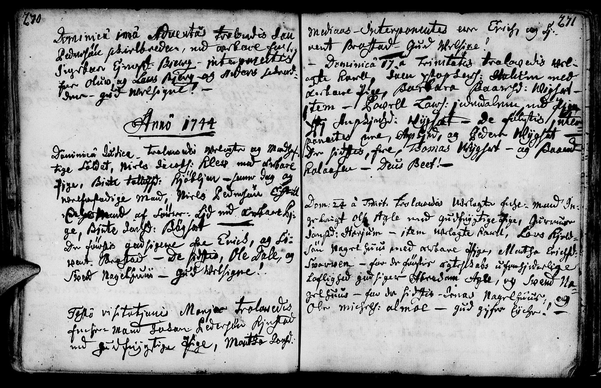 SAT, Ministerialprotokoller, klokkerbøker og fødselsregistre - Nord-Trøndelag, 749/L0467: Ministerialbok nr. 749A01, 1733-1787, s. 270-271