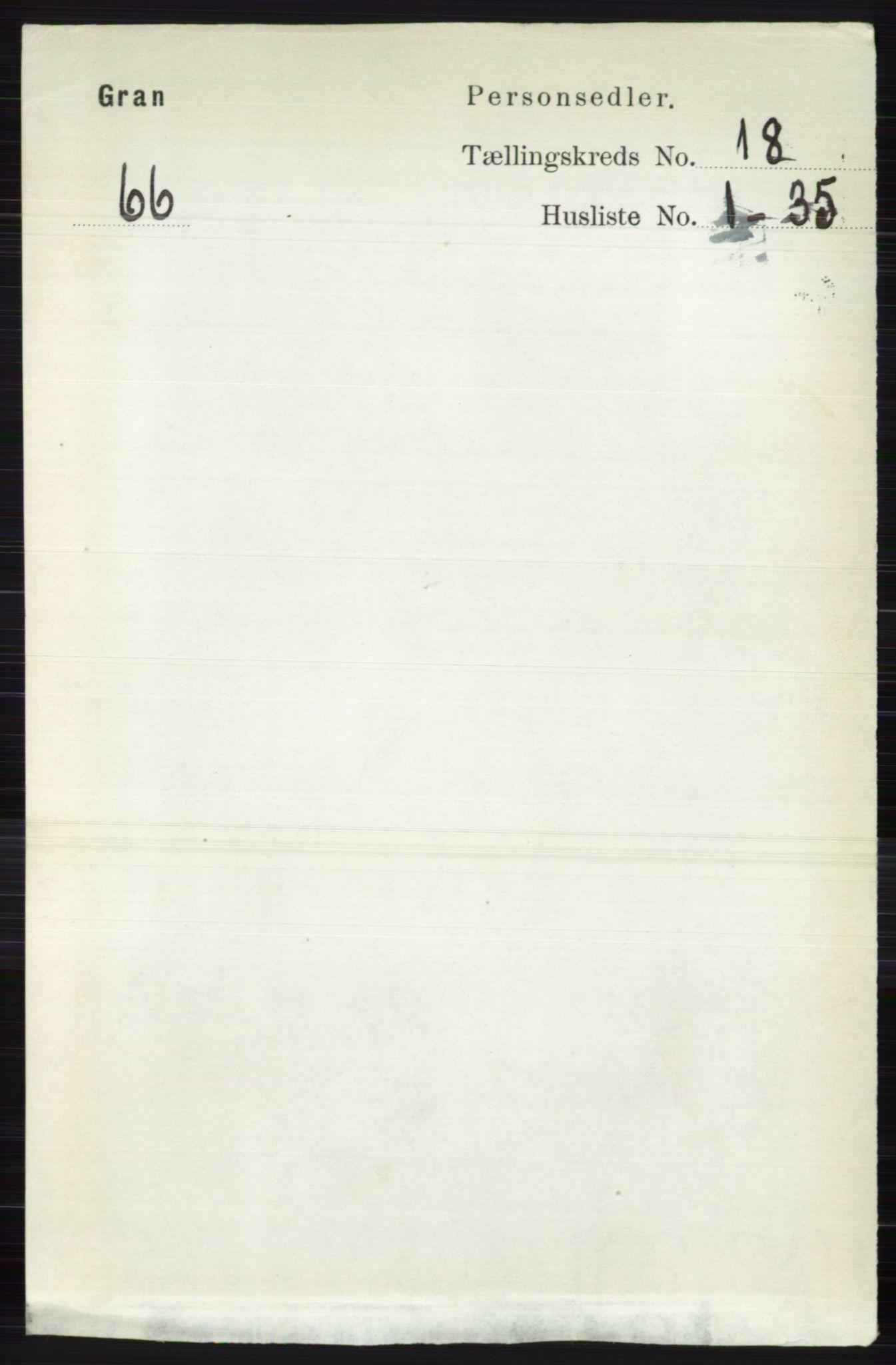RA, Folketelling 1891 for 0534 Gran herred, 1891, s. 9535
