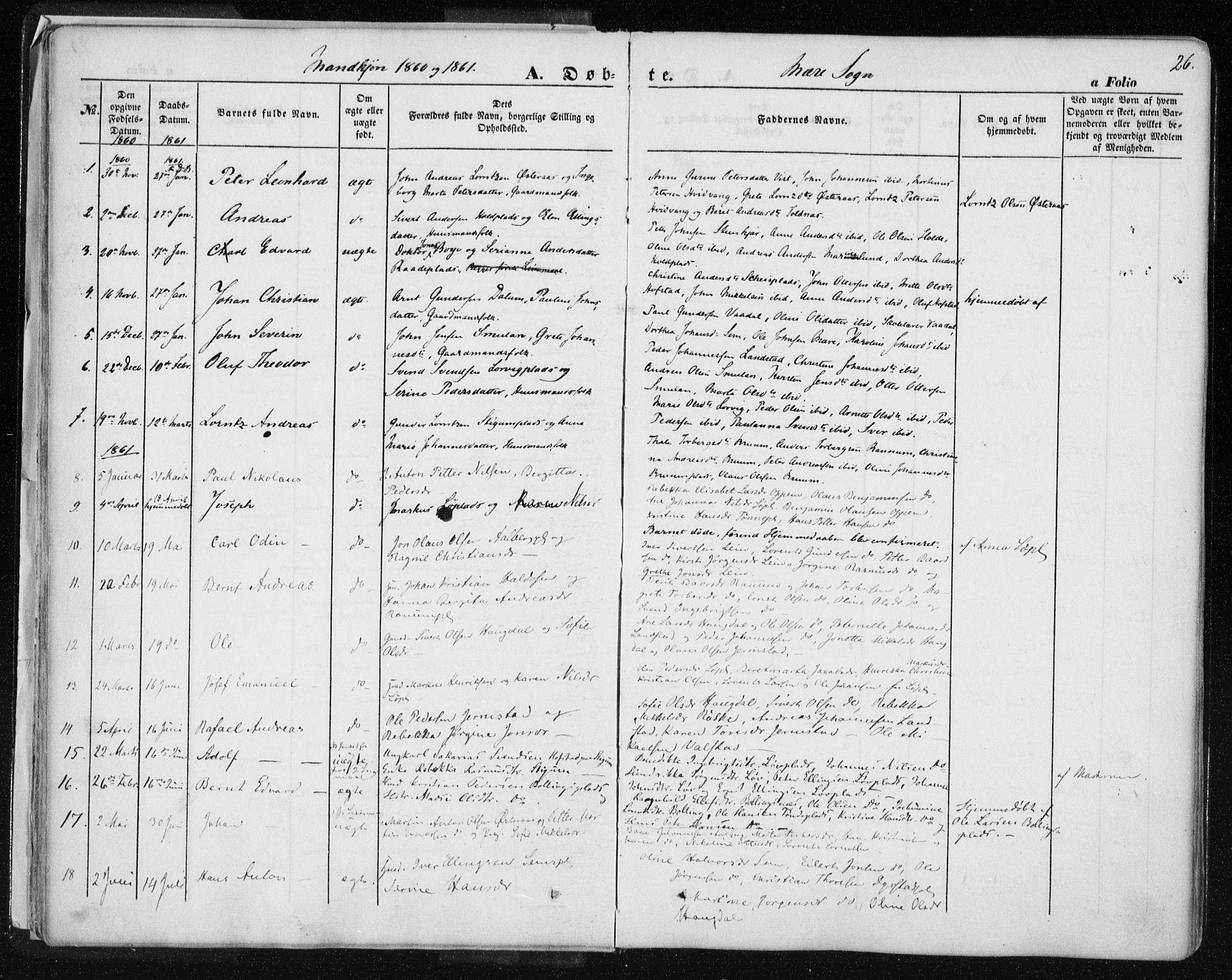 SAT, Ministerialprotokoller, klokkerbøker og fødselsregistre - Nord-Trøndelag, 735/L0342: Ministerialbok nr. 735A07 /1, 1849-1862, s. 26