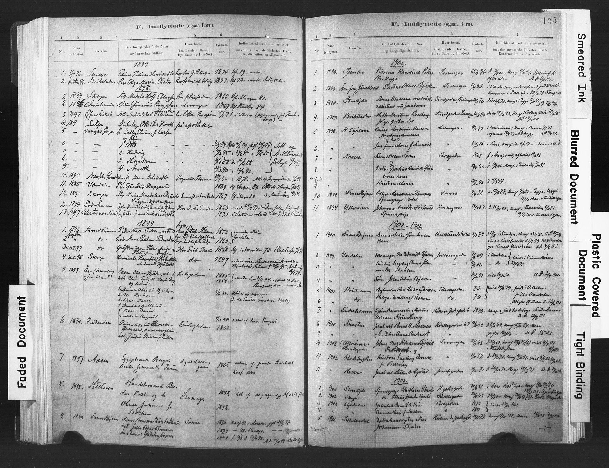 SAT, Ministerialprotokoller, klokkerbøker og fødselsregistre - Nord-Trøndelag, 720/L0189: Ministerialbok nr. 720A05, 1880-1911, s. 135