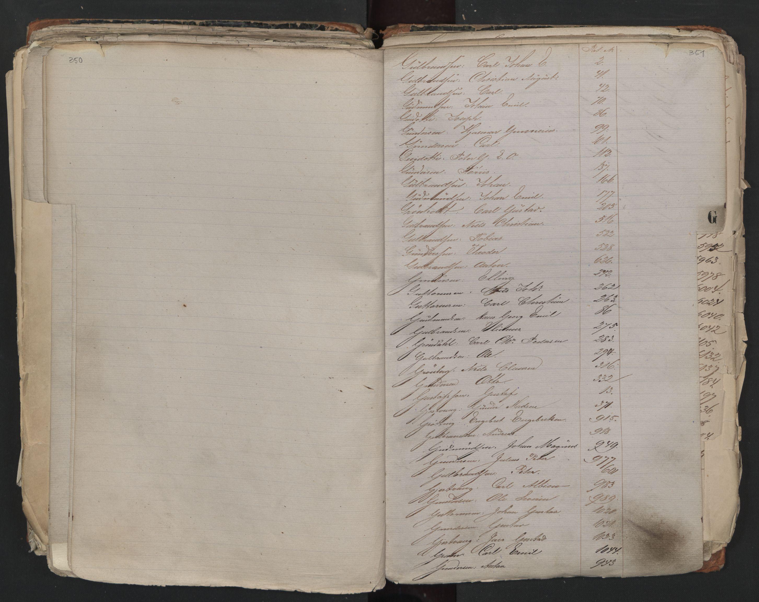 SAO, Oslo sjømannskontor, F/Fa/L0001: Register for Kristiania krets, 1866-1891, s. 350-351