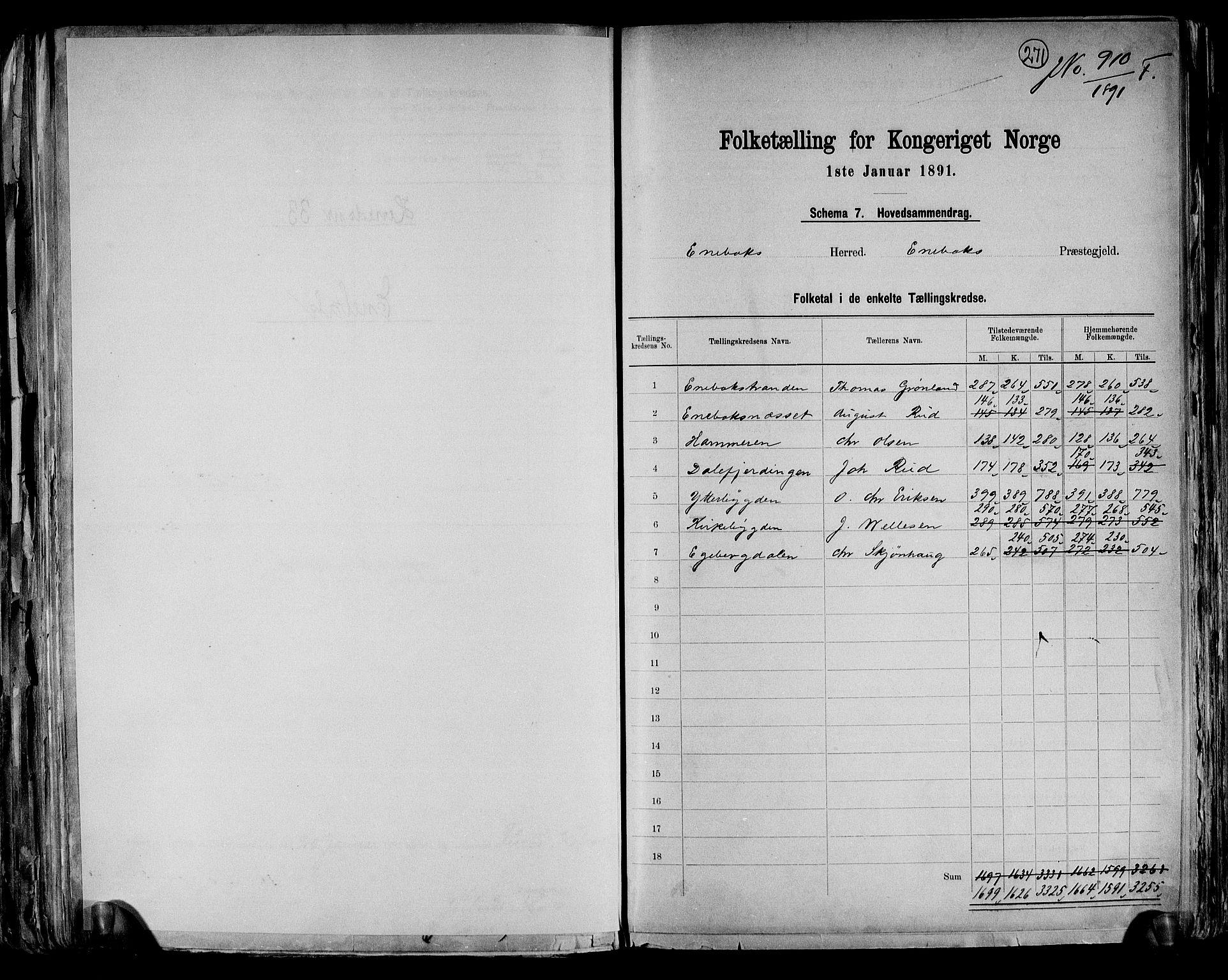 RA, Folketelling 1891 for 0229 Enebakk herred, 1891, s. 2