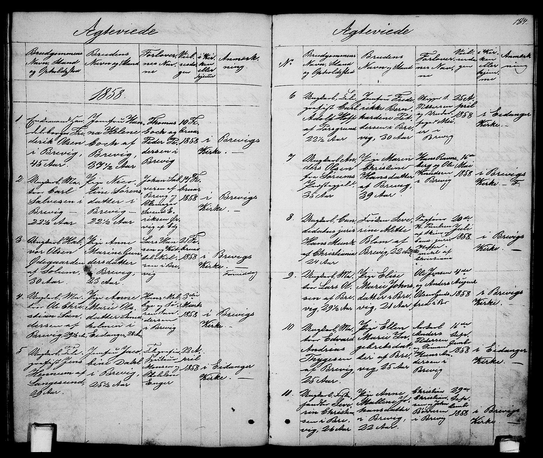 SAKO, Brevik kirkebøker, G/Ga/L0002: Klokkerbok nr. 2, 1846-1865, s. 184