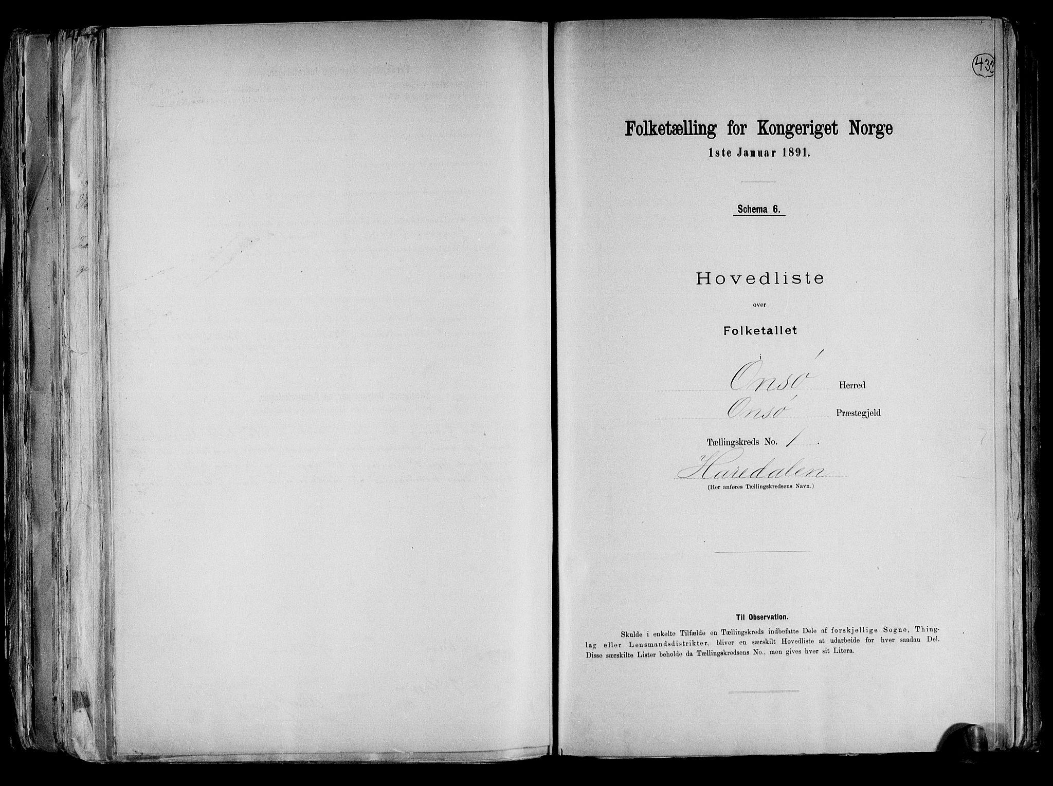 RA, Folketelling 1891 for 0134 Onsøy herred, 1891, s. 4