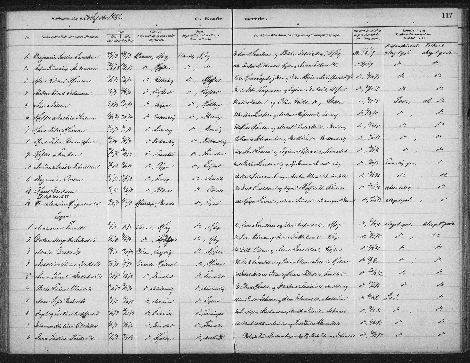SAT, Ministerialprotokoller, klokkerbøker og fødselsregistre - Sør-Trøndelag, 662/L0755: Ministerialbok nr. 662A01, 1879-1905, s. 117