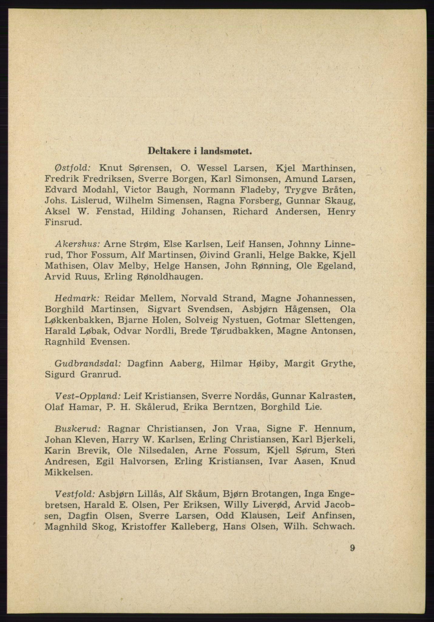 AAB, Det norske Arbeiderparti - publikasjoner, -/-: Protokoll over forhandlingene på det 38. ordinære landsmøte 9.-11. april 1961 i Oslo, 1961, s. 9