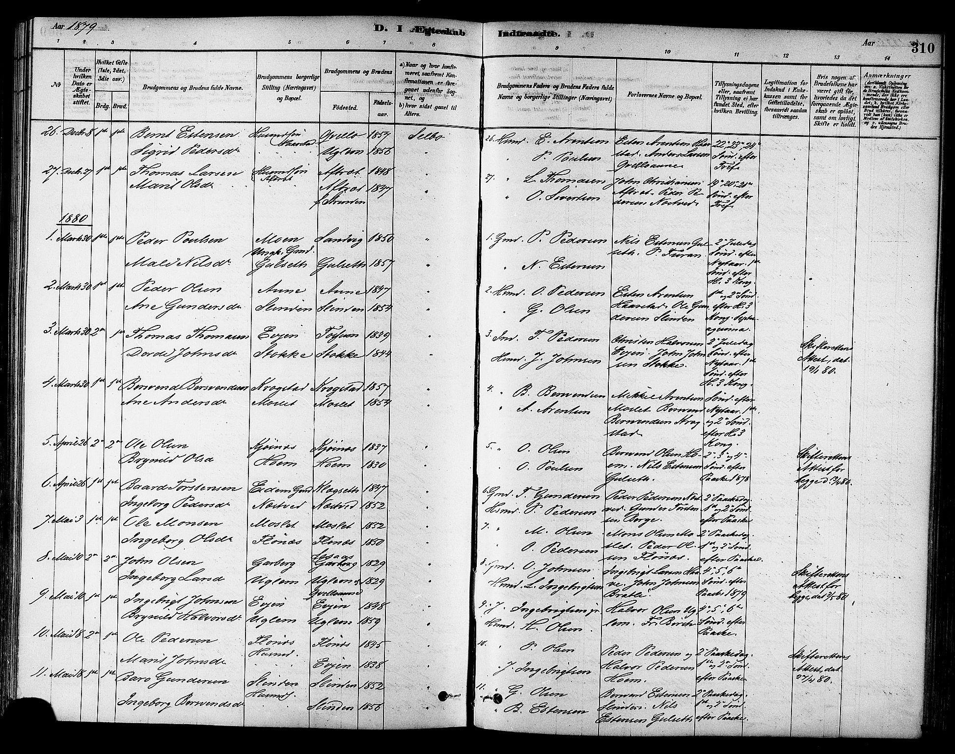SAT, Ministerialprotokoller, klokkerbøker og fødselsregistre - Sør-Trøndelag, 695/L1148: Ministerialbok nr. 695A08, 1878-1891, s. 310