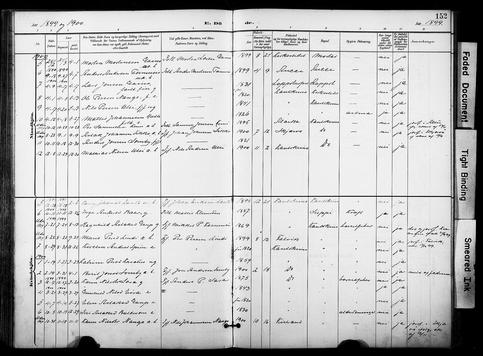 SATØ, Kautokeino sokneprestembete, Ministerialbok nr. 5, 1896-1916, s. 152
