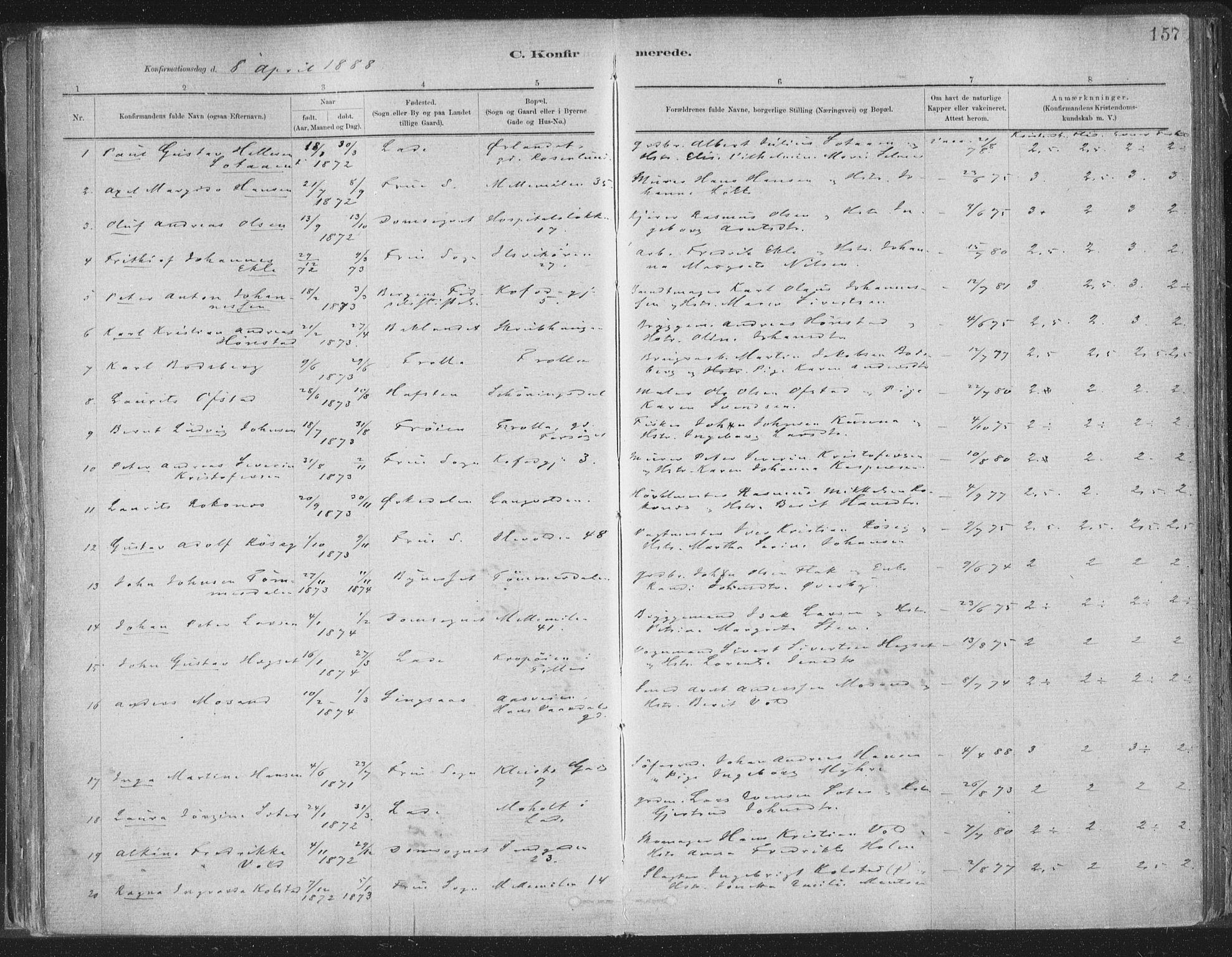 SAT, Ministerialprotokoller, klokkerbøker og fødselsregistre - Sør-Trøndelag, 603/L0162: Ministerialbok nr. 603A01, 1879-1895, s. 157