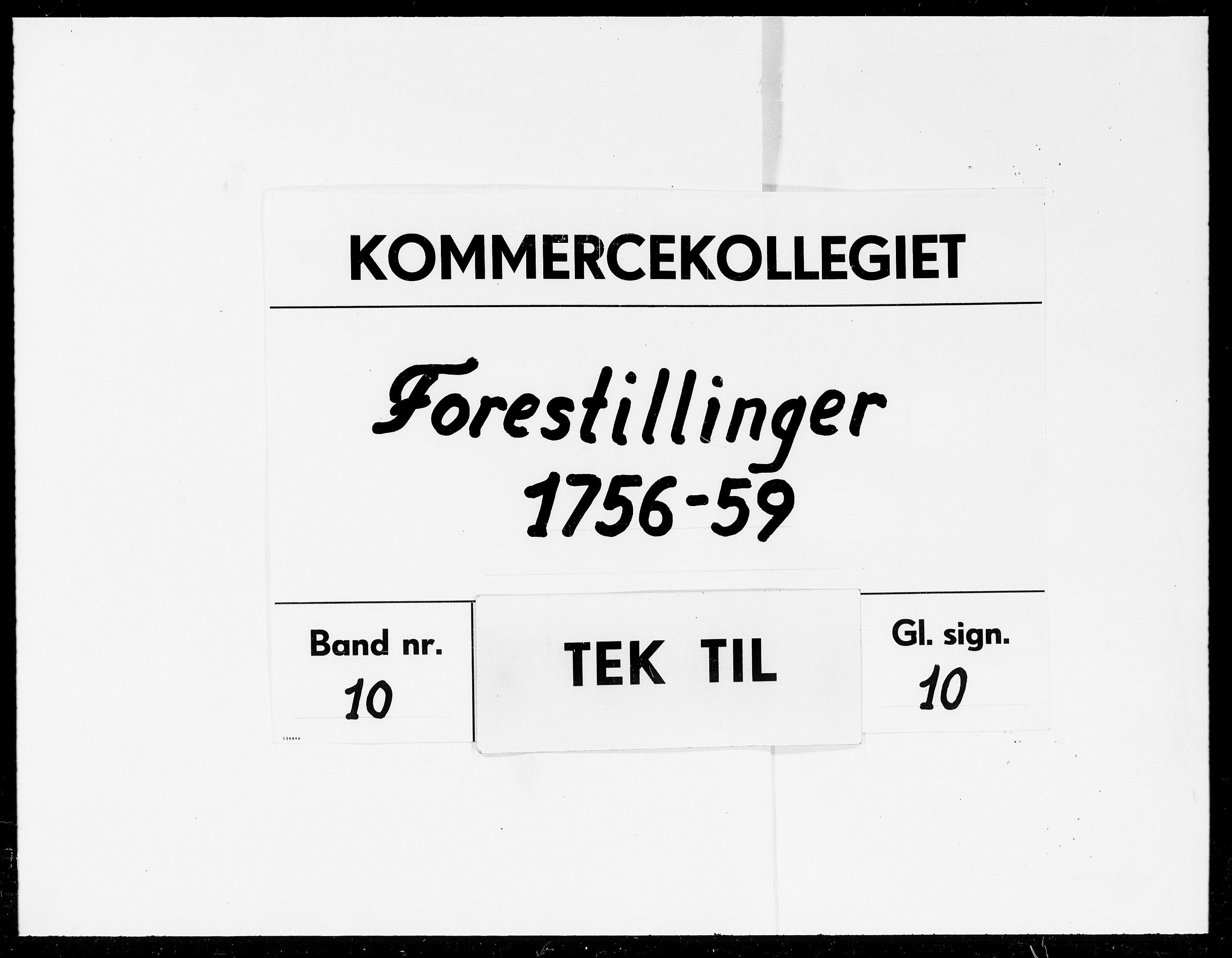 DRA, Kommercekollegiet, Dansk-Norske Sekretariat (1736-1771) / Kommercedeputationen (1771-1773), -/010: Forestillinger, 1756-1758
