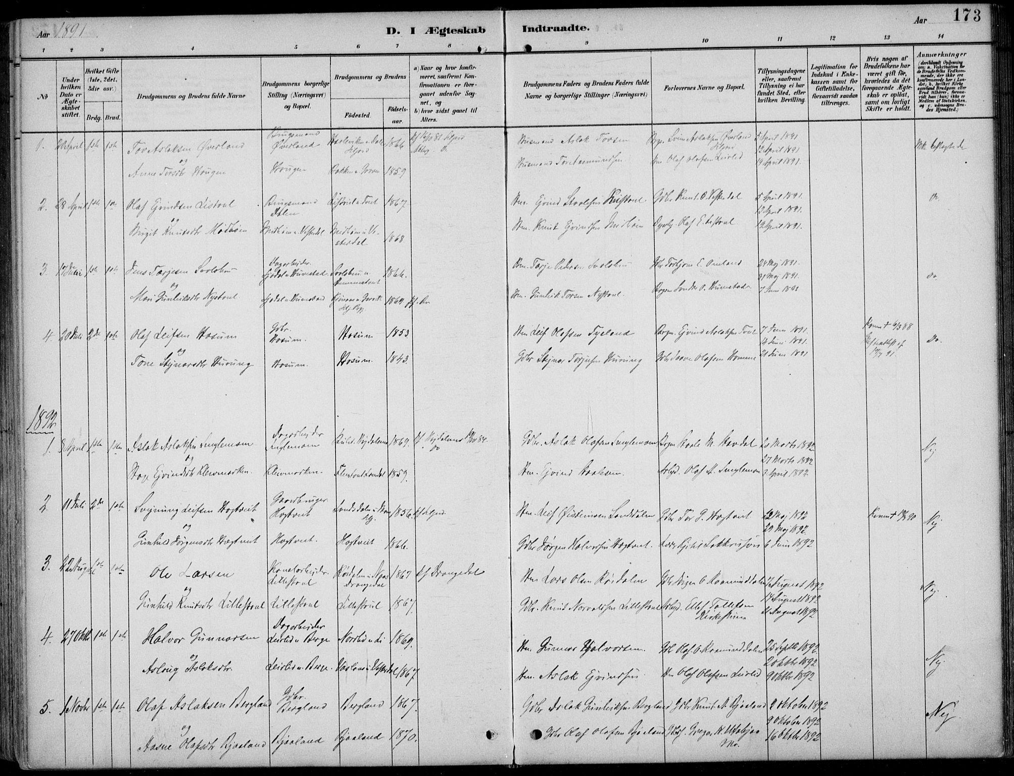 SAKO, Kviteseid kirkebøker, F/Fb/L0002: Ministerialbok nr. II 2, 1882-1916, s. 173