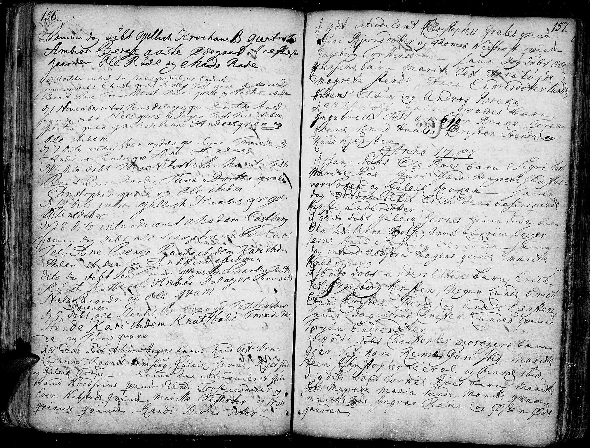 SAH, Vang prestekontor, Valdres, Ministerialbok nr. 1, 1730-1796, s. 156-157