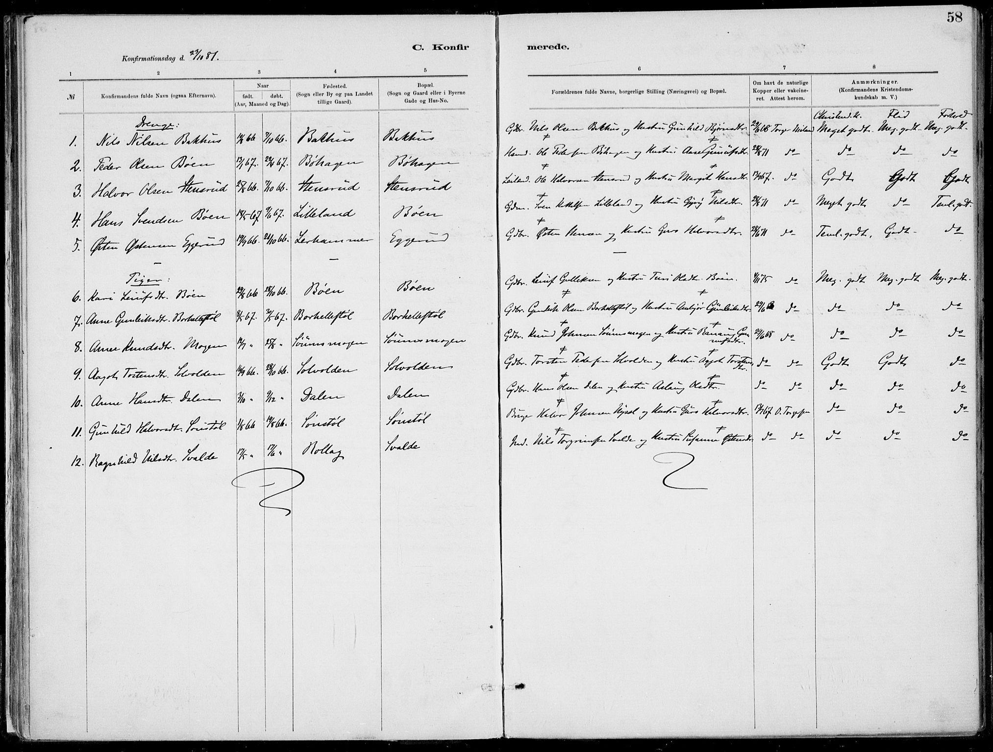 SAKO, Rjukan kirkebøker, F/Fa/L0001: Ministerialbok nr. 1, 1878-1912, s. 58