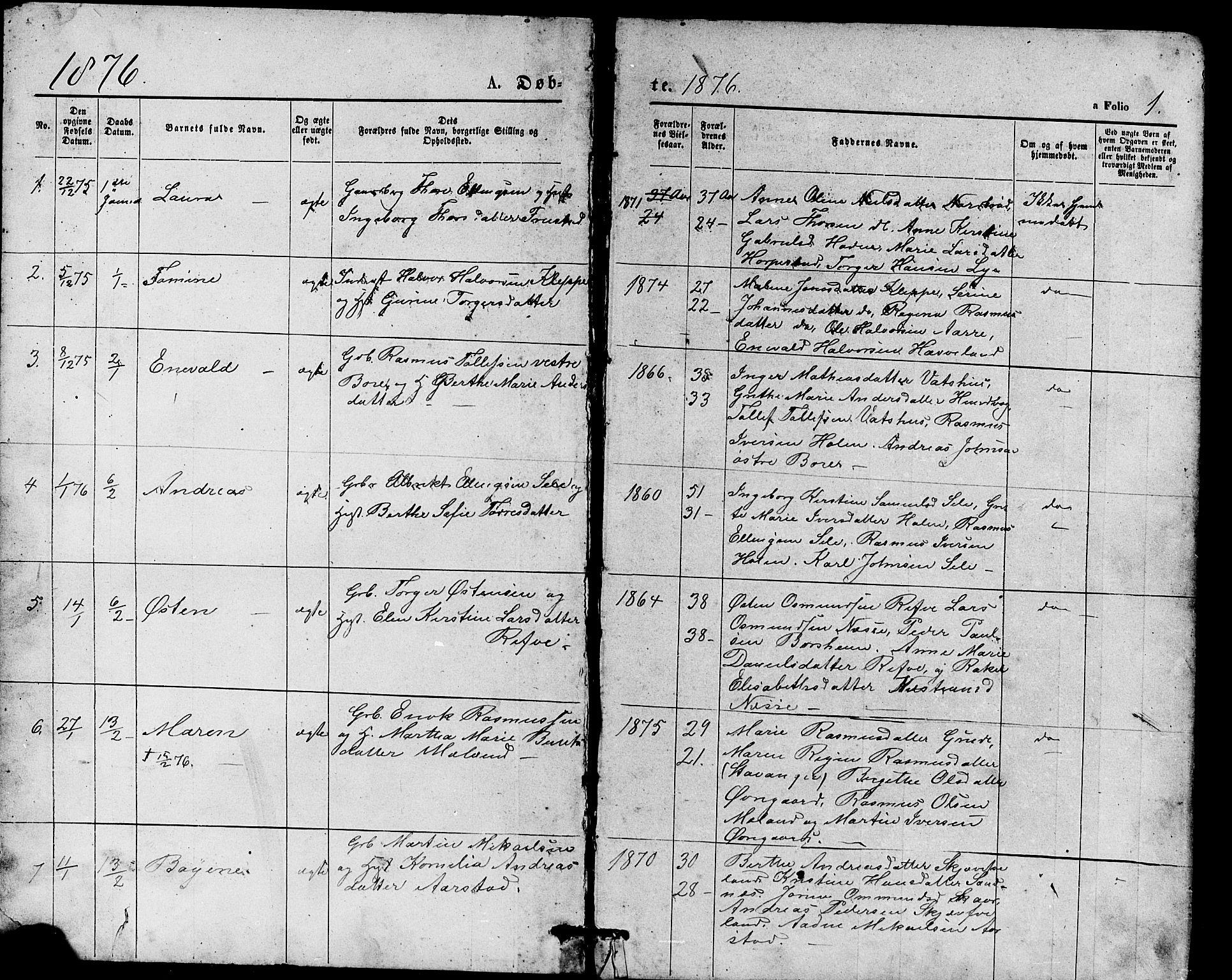 SAST, Klepp sokneprestkontor, 30BB/L0003: Klokkerbok nr. B 3, 1876-1888, s. 1