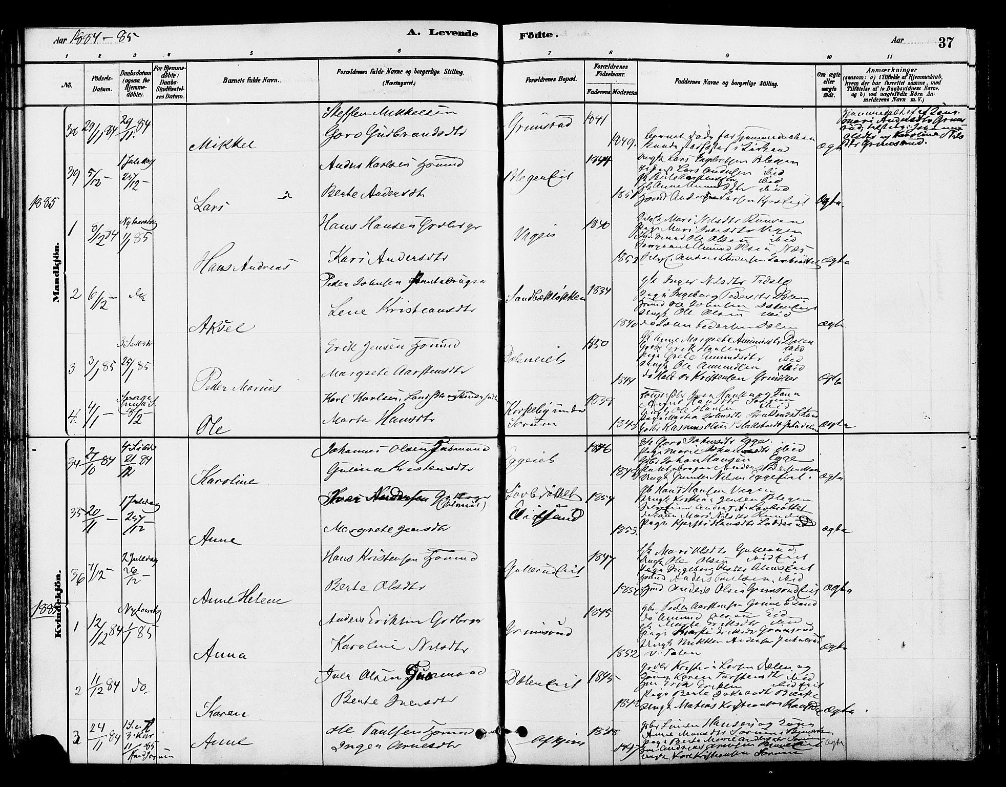 SAH, Gran prestekontor, Ministerialbok nr. 15, 1880-1888, s. 37