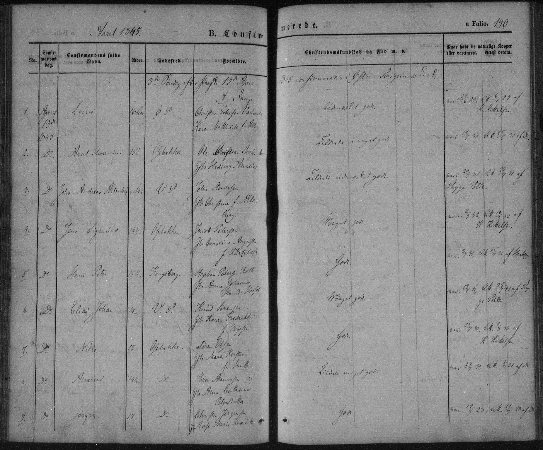 SAKO, Porsgrunn kirkebøker , F/Fa/L0006: Ministerialbok nr. 6, 1841-1857, s. 190