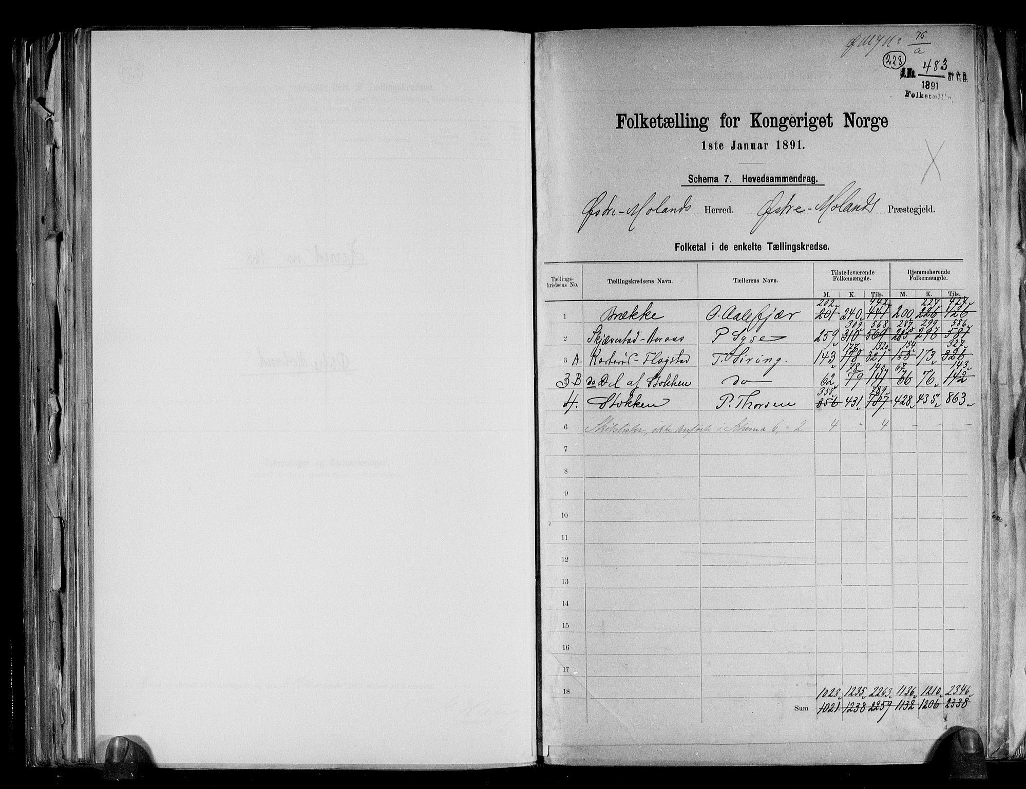 RA, Folketelling 1891 for 0918 Austre Moland herred, 1891, s. 2