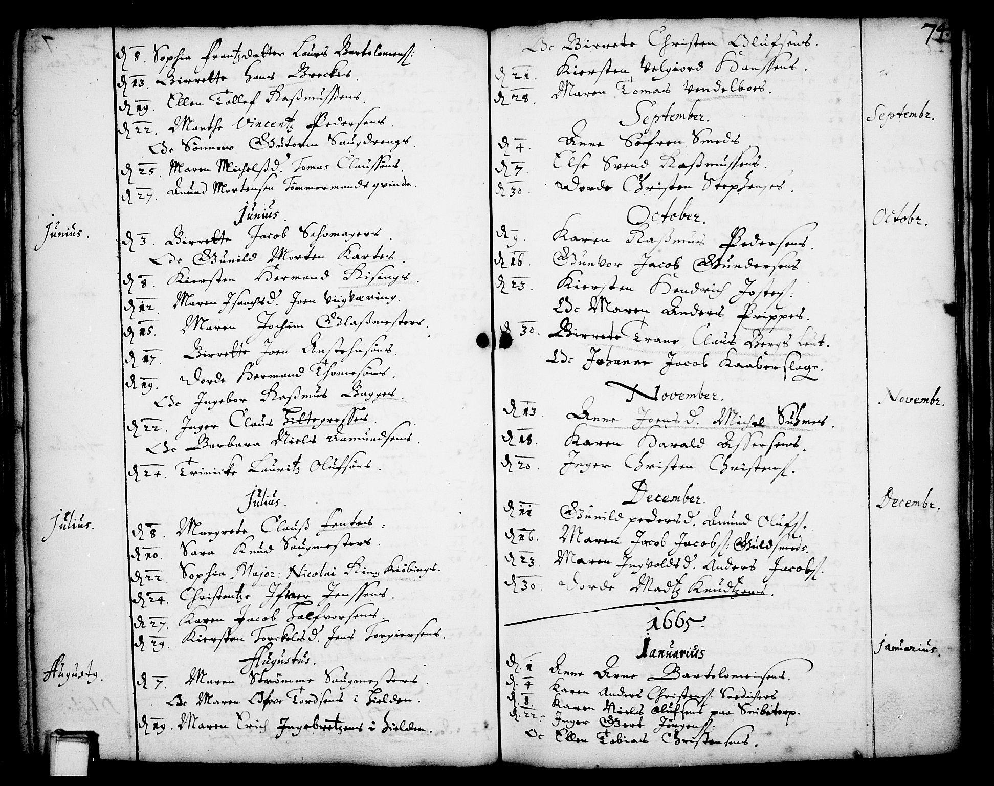 SAKO, Skien kirkebøker, F/Fa/L0001: Ministerialbok nr. 1, 1659-1679, s. 74