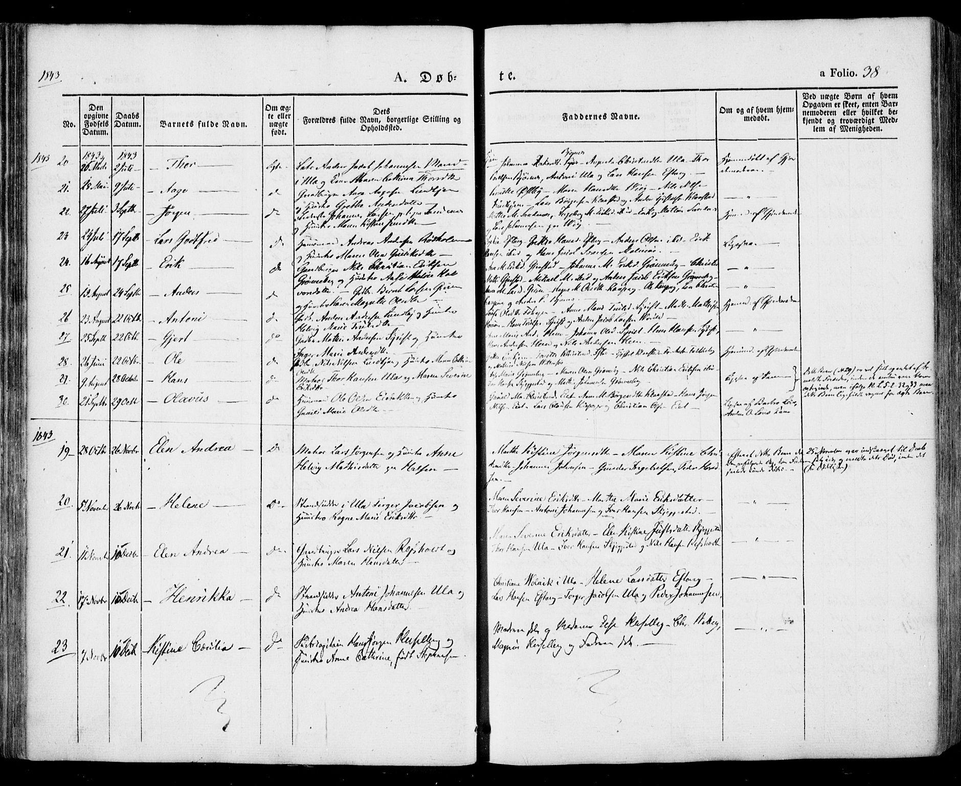 SAKO, Tjølling kirkebøker, F/Fa/L0006: Ministerialbok nr. 6, 1835-1859, s. 38