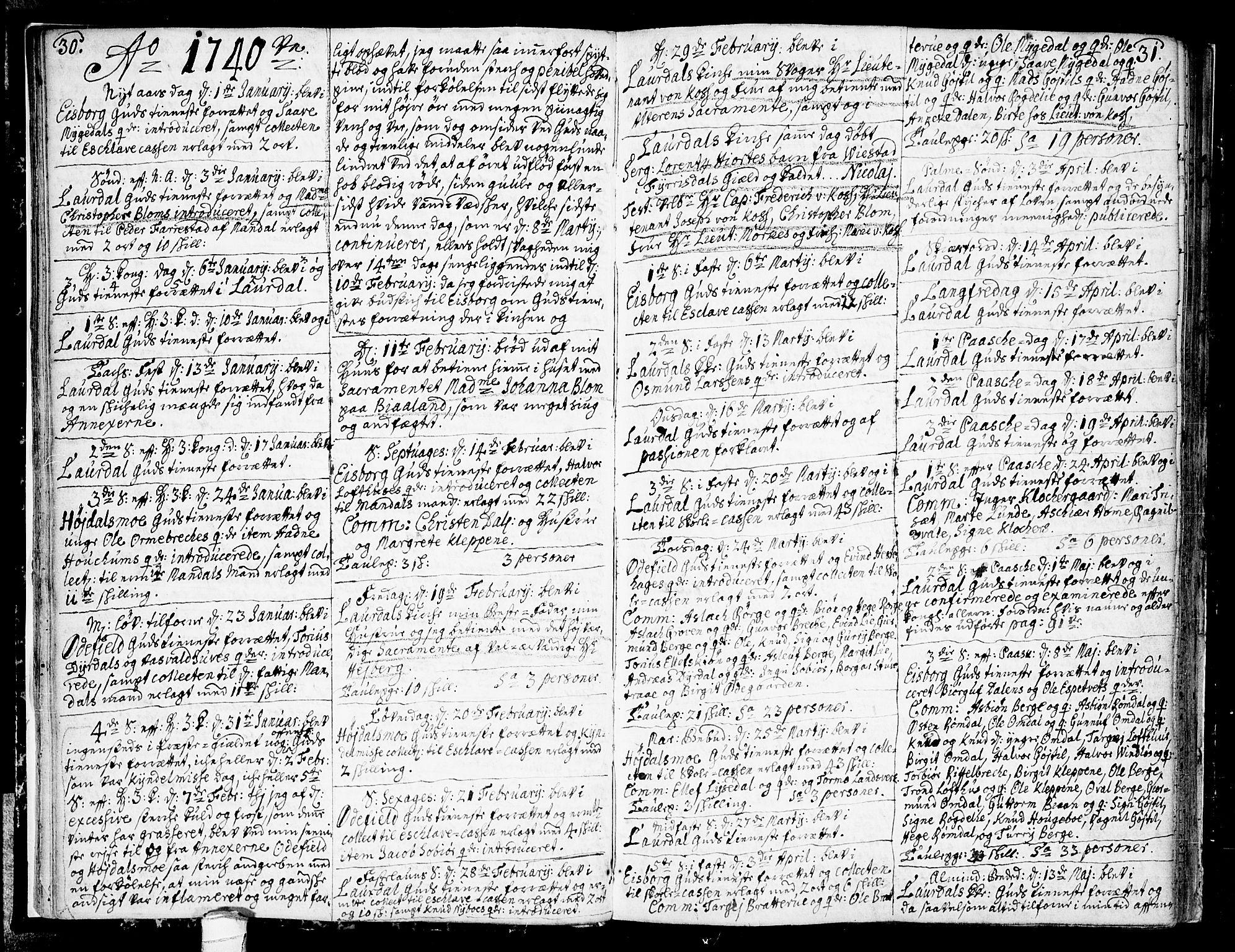 SAKO, Lårdal kirkebøker, F/Fa/L0002: Ministerialbok nr. I 2, 1734-1754, s. 30-31