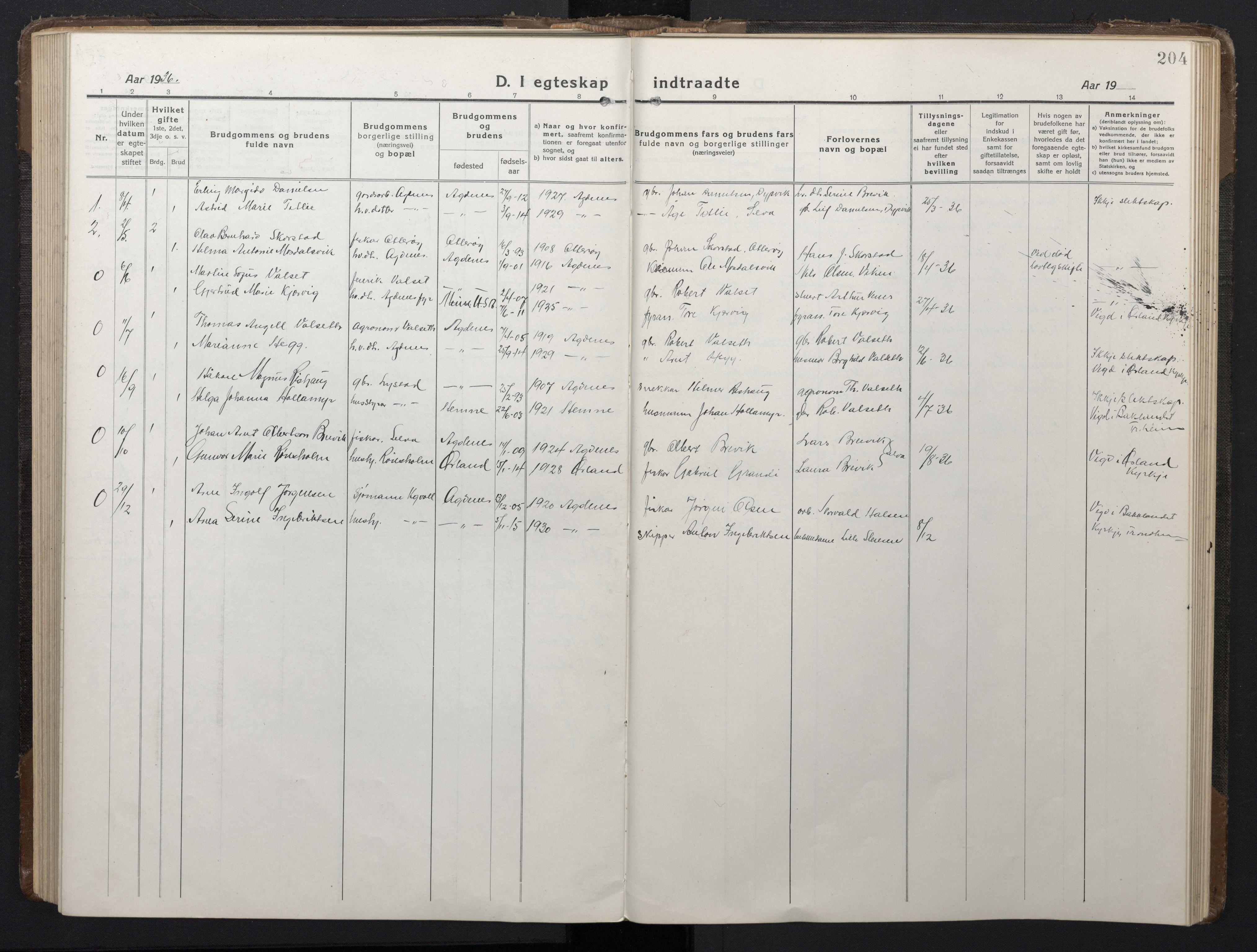 SAT, Ministerialprotokoller, klokkerbøker og fødselsregistre - Sør-Trøndelag, 662/L0758: Klokkerbok nr. 662C03, 1918-1948, s. 204
