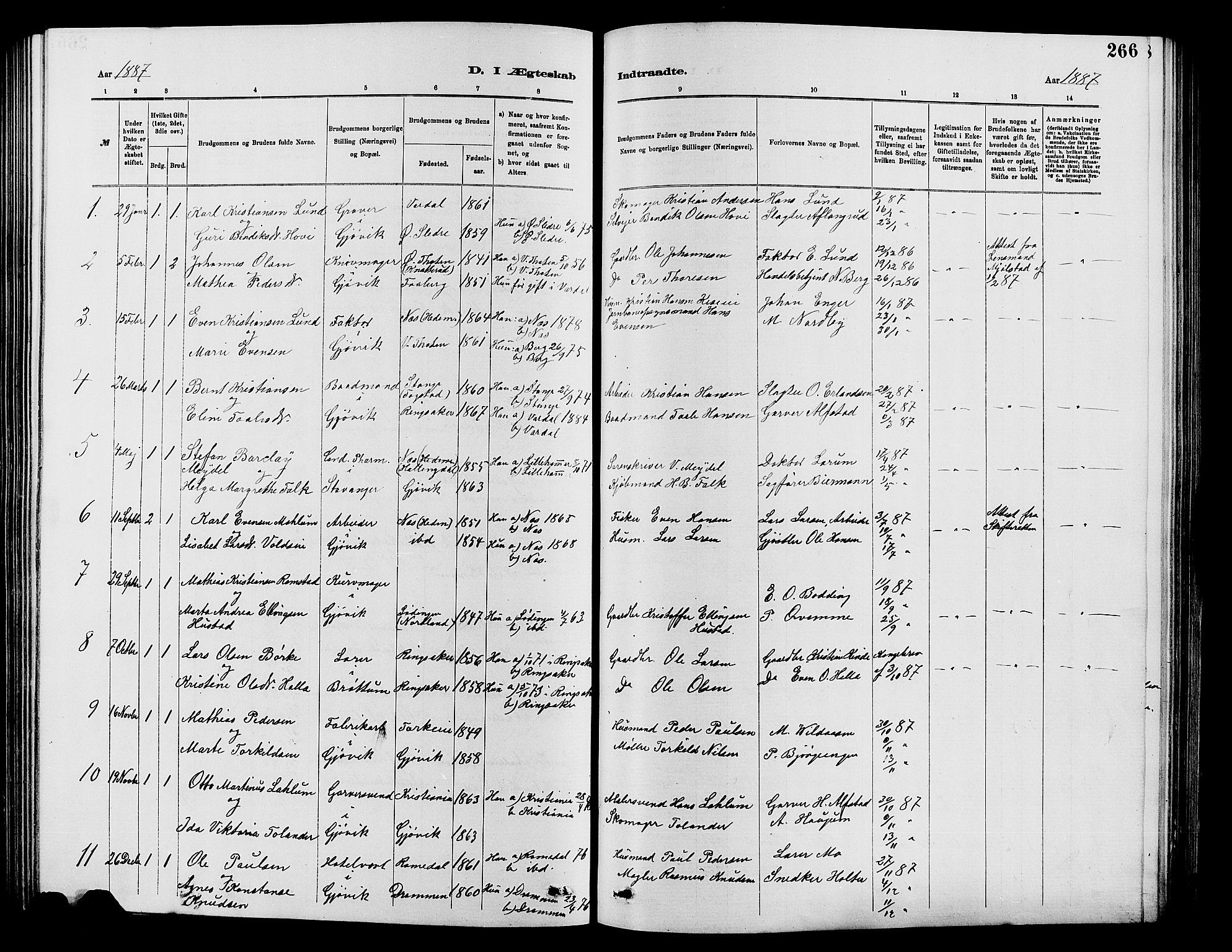 SAH, Vardal prestekontor, H/Ha/Hab/L0007: Klokkerbok nr. 7 /2, 1881-1895, s. 266