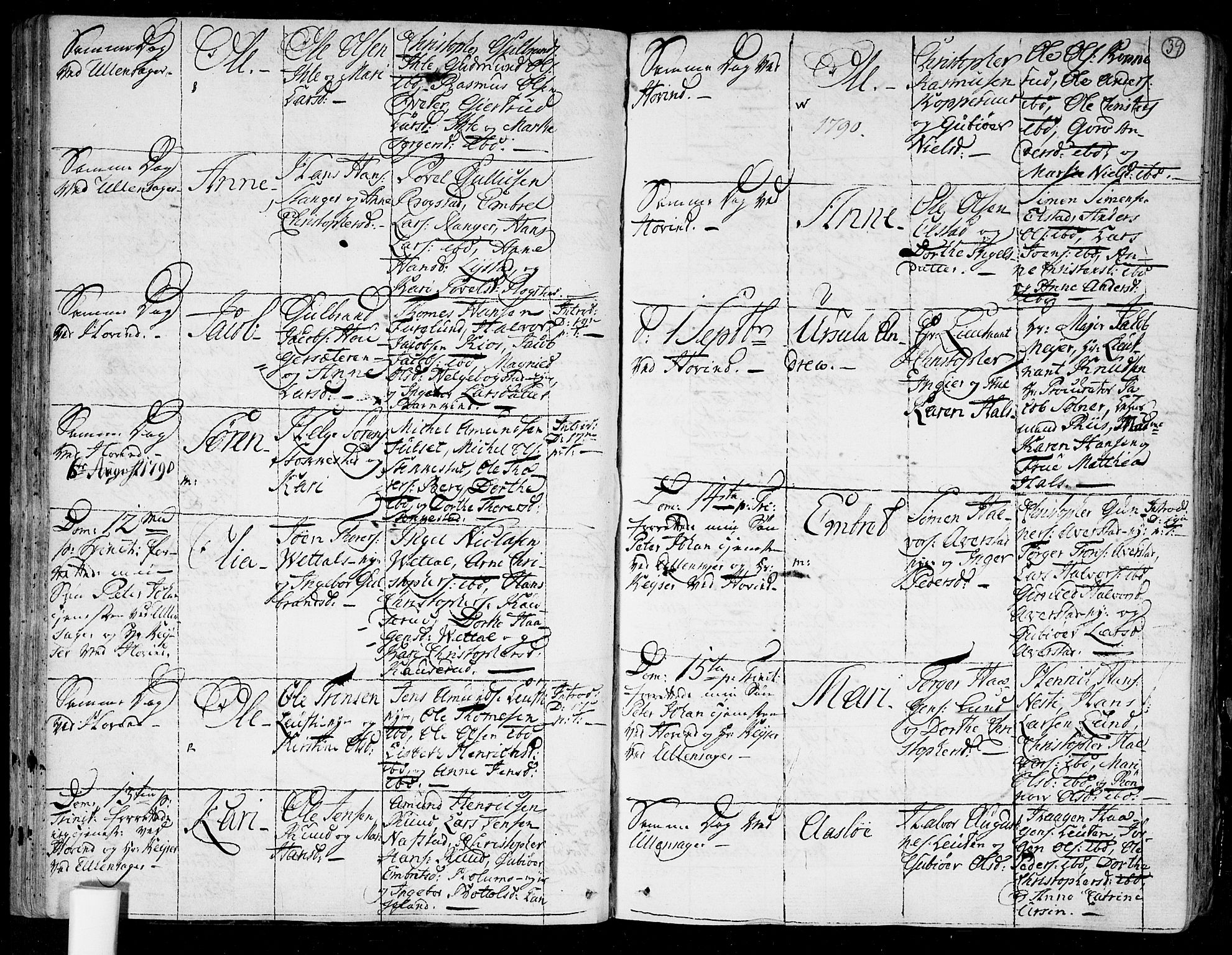 SAO, Ullensaker prestekontor Kirkebøker, F/Fa/L0007: Ministerialbok nr. I 7, 1786-1815, s. 39