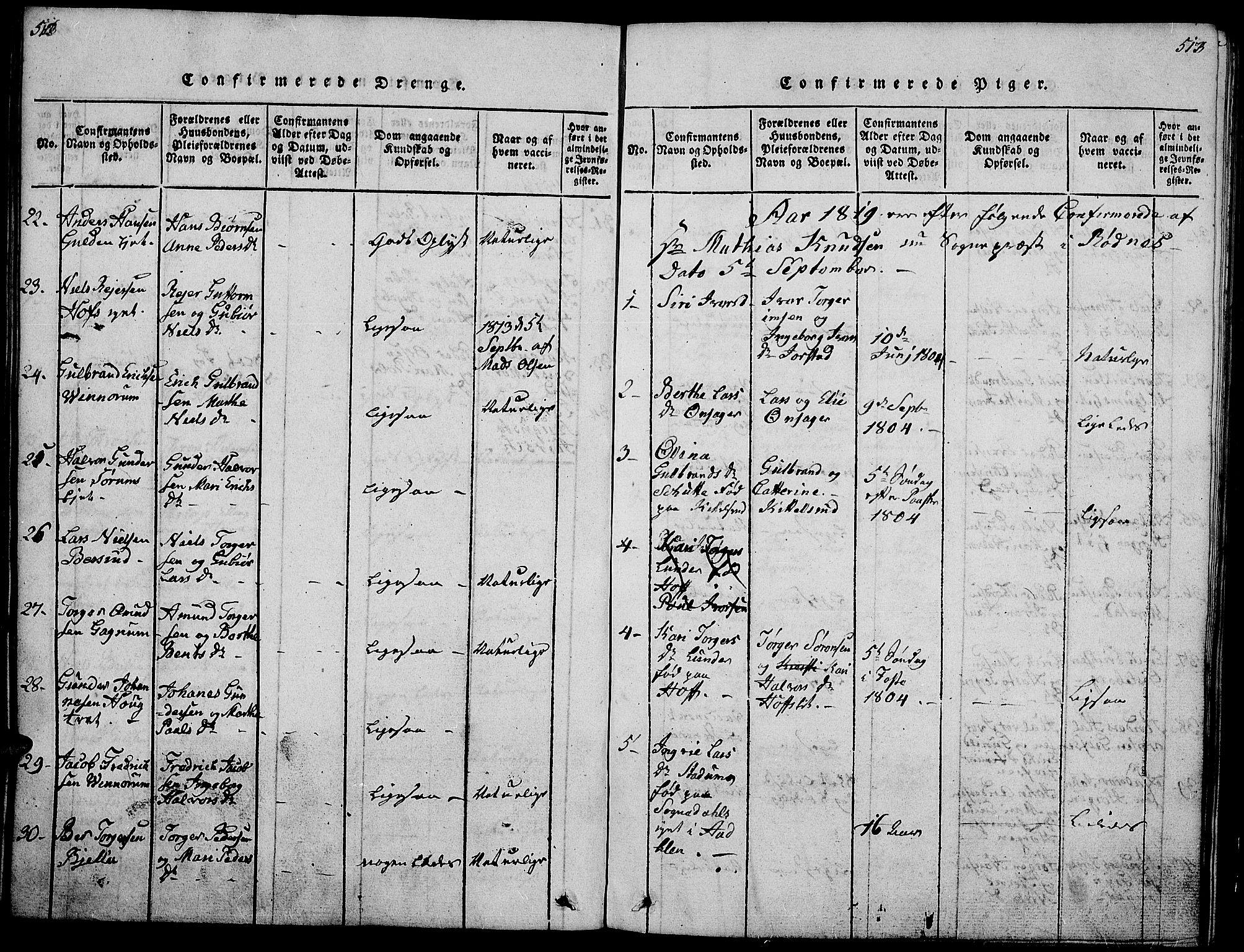 SAH, Gran prestekontor, Klokkerbok nr. 1, 1815-1824, s. 512-513