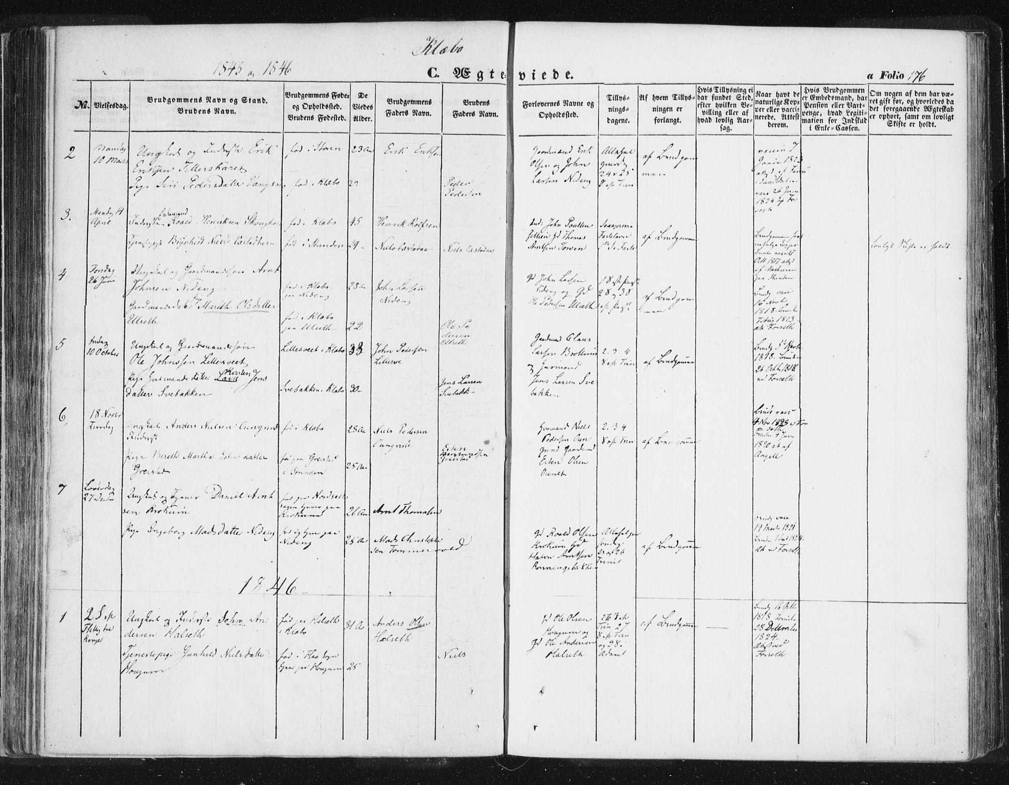 SAT, Ministerialprotokoller, klokkerbøker og fødselsregistre - Sør-Trøndelag, 618/L0441: Ministerialbok nr. 618A05, 1843-1862, s. 176
