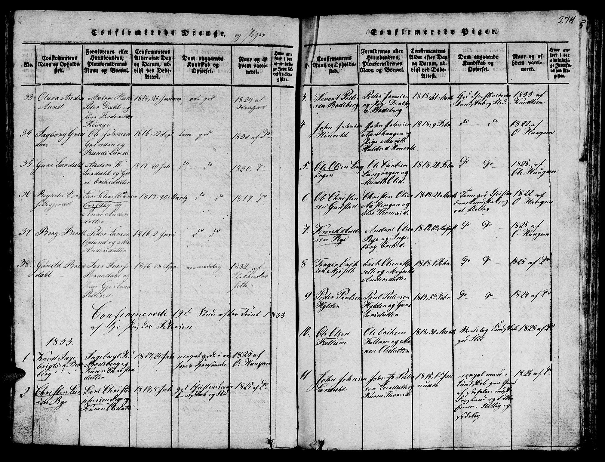 SAT, Ministerialprotokoller, klokkerbøker og fødselsregistre - Sør-Trøndelag, 612/L0385: Klokkerbok nr. 612C01, 1816-1845, s. 274