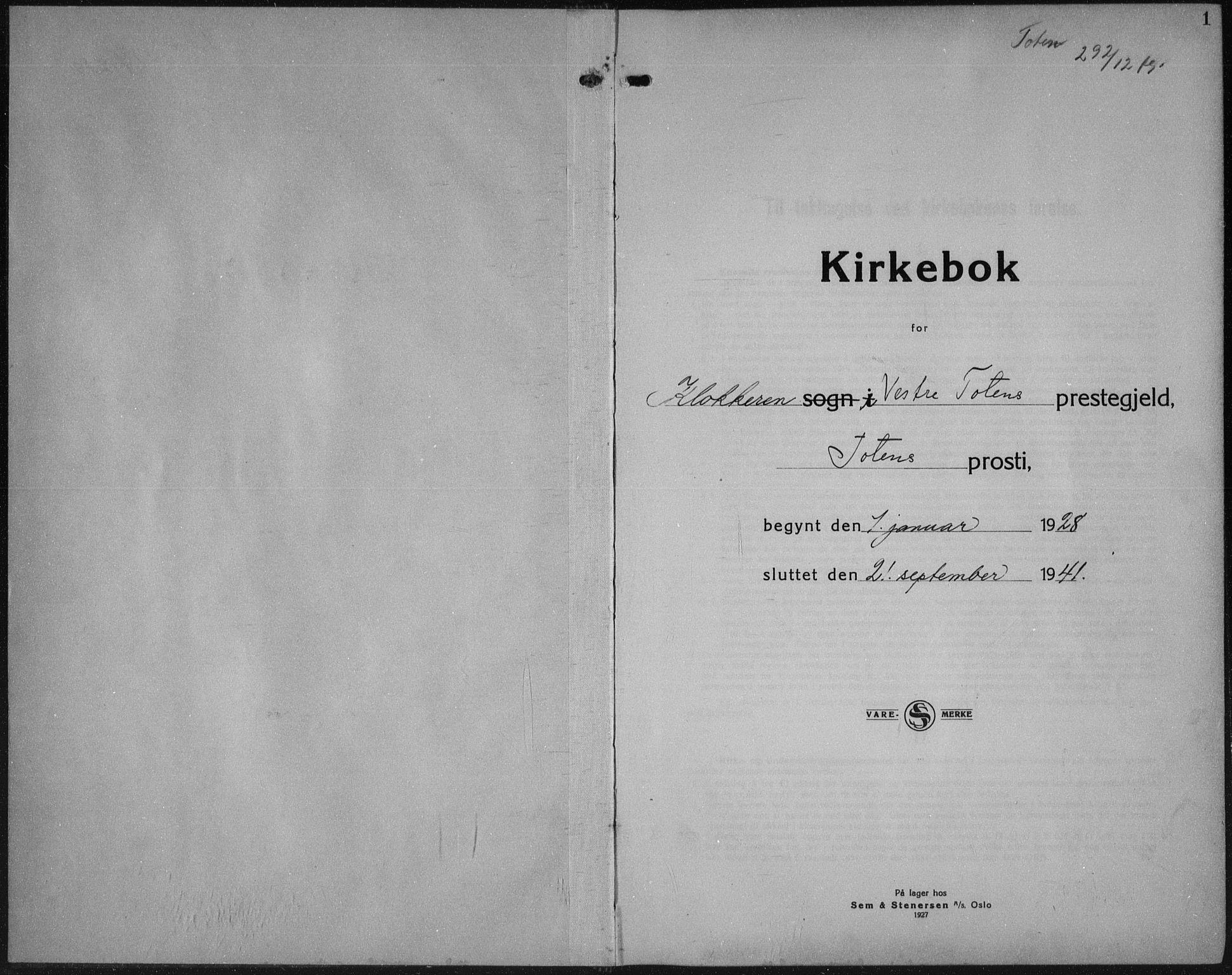 SAH, Vestre Toten prestekontor, Klokkerbok nr. 18, 1928-1941, s. 1