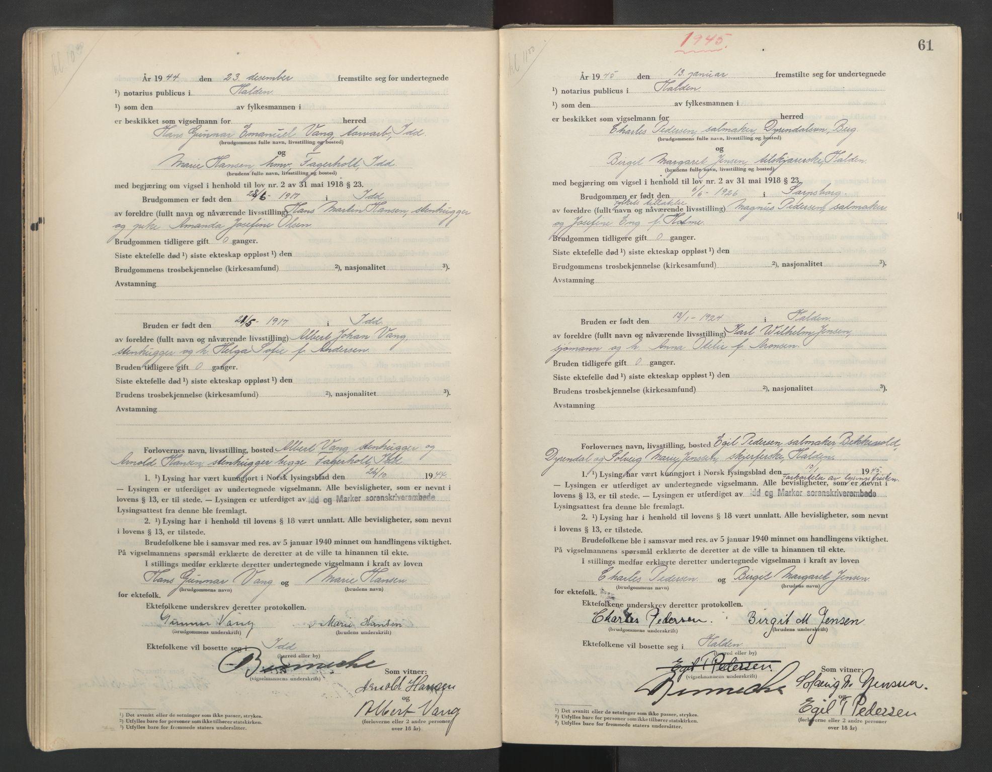 SAO, Idd og Marker sorenskriveri, L/Lc/L0001: Vigselsbøker, 1944-1945, s. 61