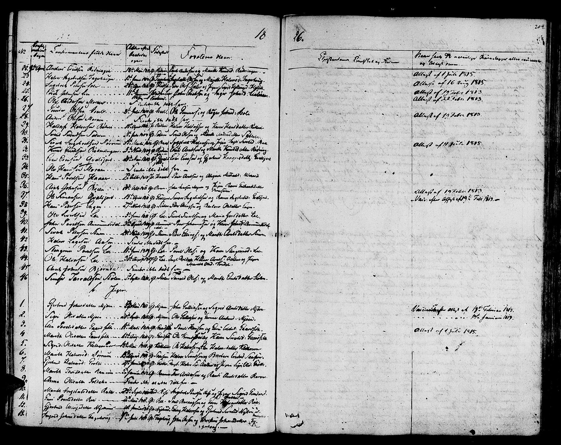 SAT, Ministerialprotokoller, klokkerbøker og fødselsregistre - Sør-Trøndelag, 678/L0897: Ministerialbok nr. 678A06-07, 1821-1847, s. 204