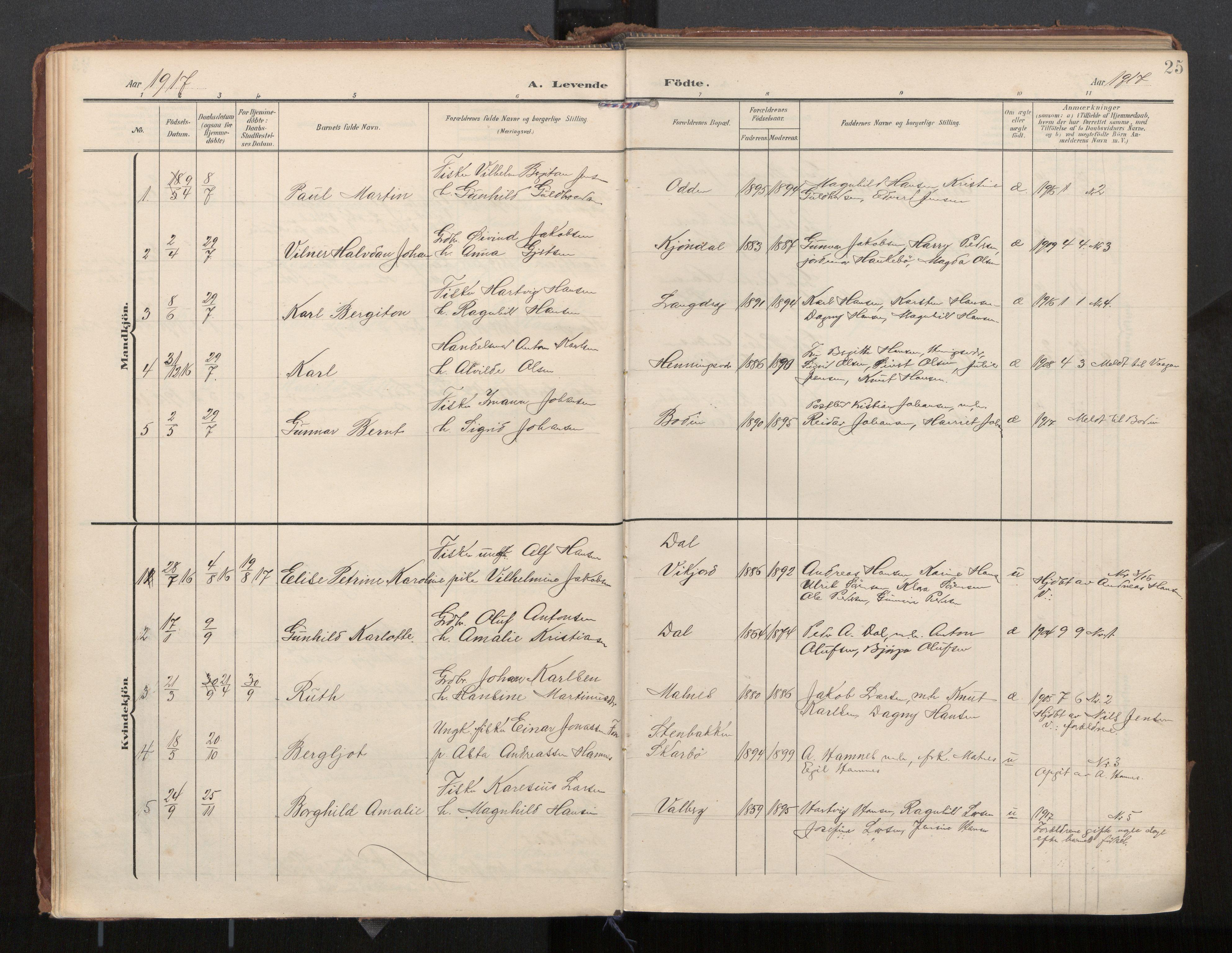 SAT, Ministerialprotokoller, klokkerbøker og fødselsregistre - Nordland, 884/L1194: Ministerialbok nr. 884A02, 1906-1937, s. 25