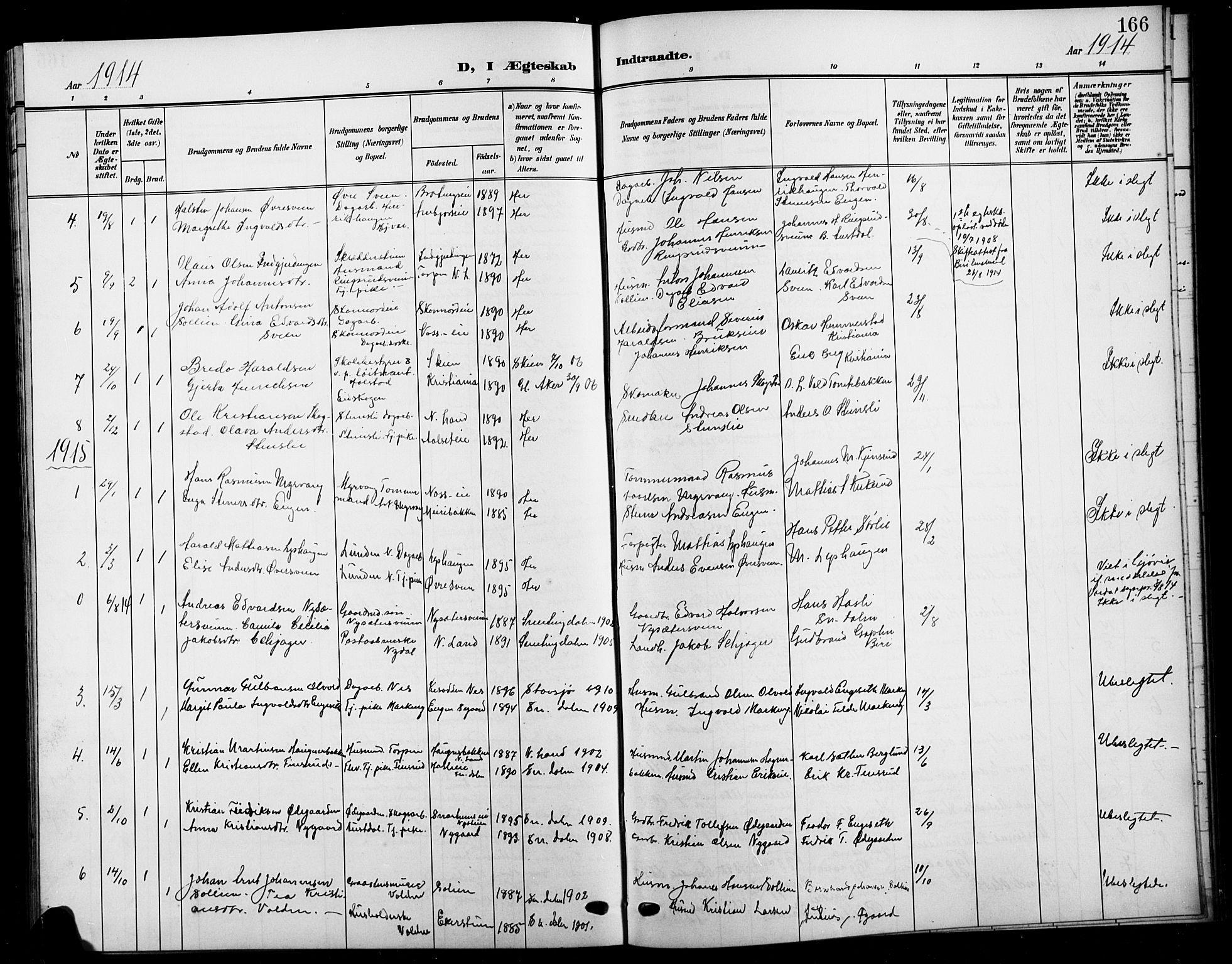 SAH, Biri prestekontor, Klokkerbok nr. 5, 1906-1919, s. 166