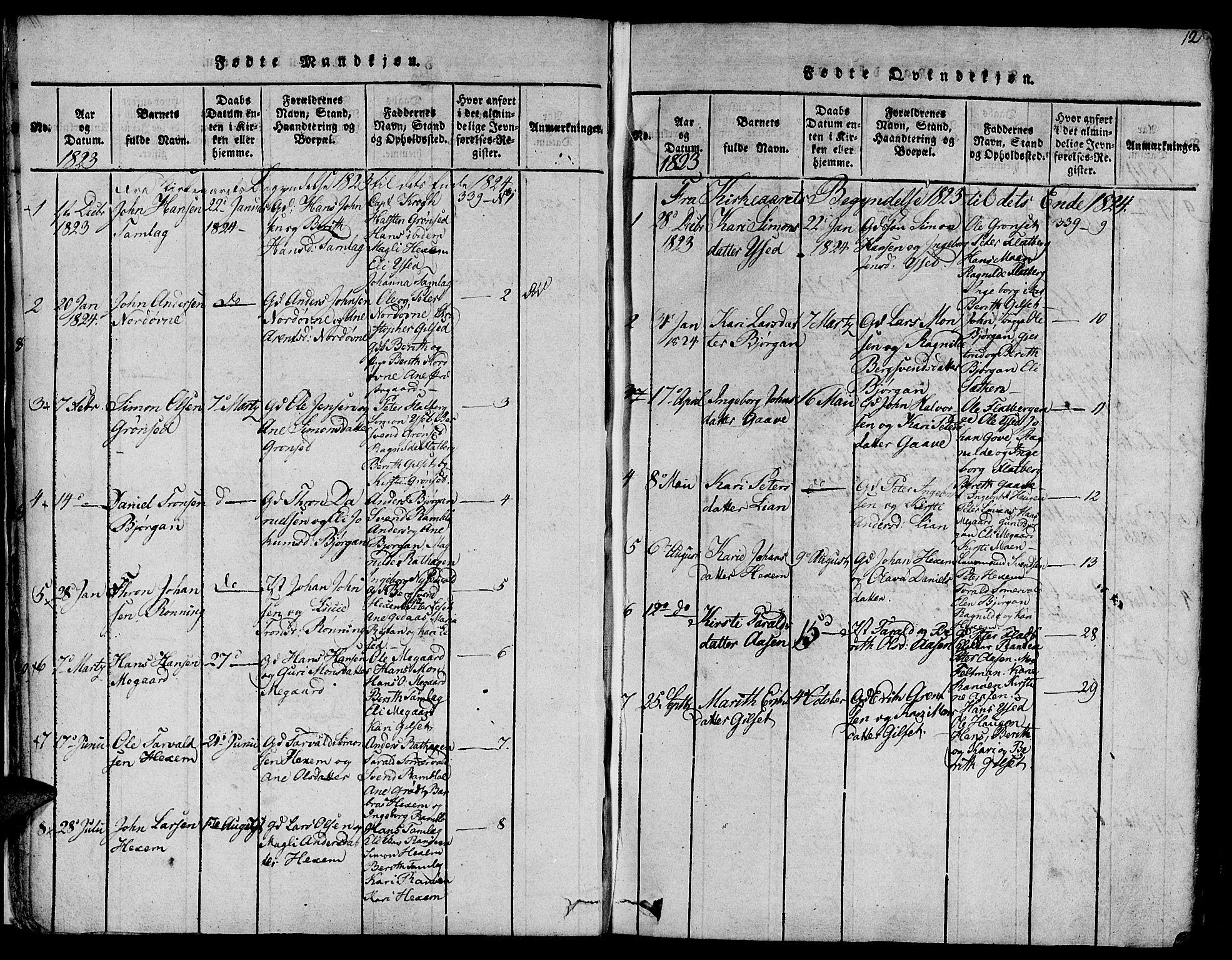SAT, Ministerialprotokoller, klokkerbøker og fødselsregistre - Sør-Trøndelag, 685/L0954: Ministerialbok nr. 685A03 /1, 1817-1829, s. 12