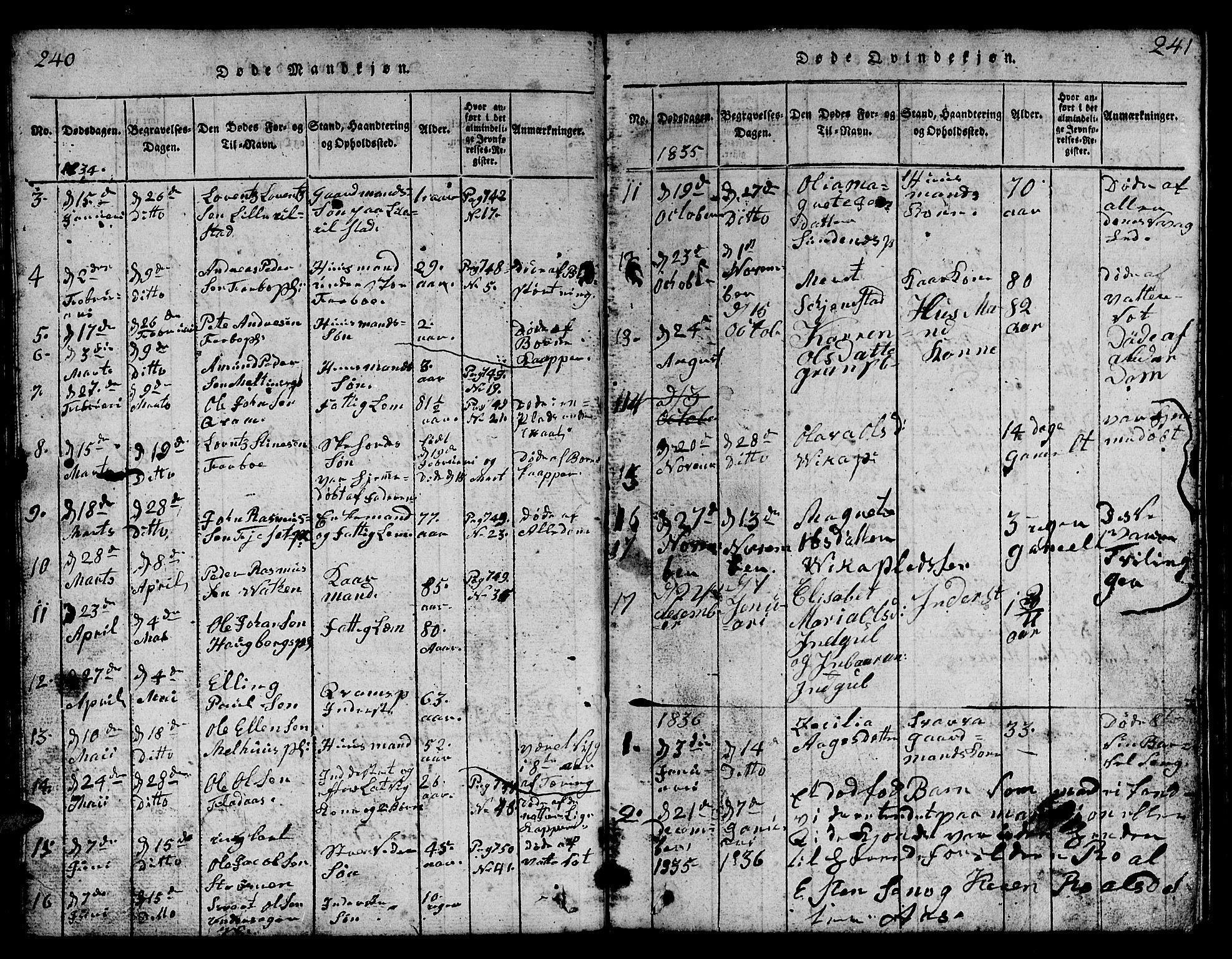 SAT, Ministerialprotokoller, klokkerbøker og fødselsregistre - Nord-Trøndelag, 730/L0298: Klokkerbok nr. 730C01, 1816-1849, s. 240-241